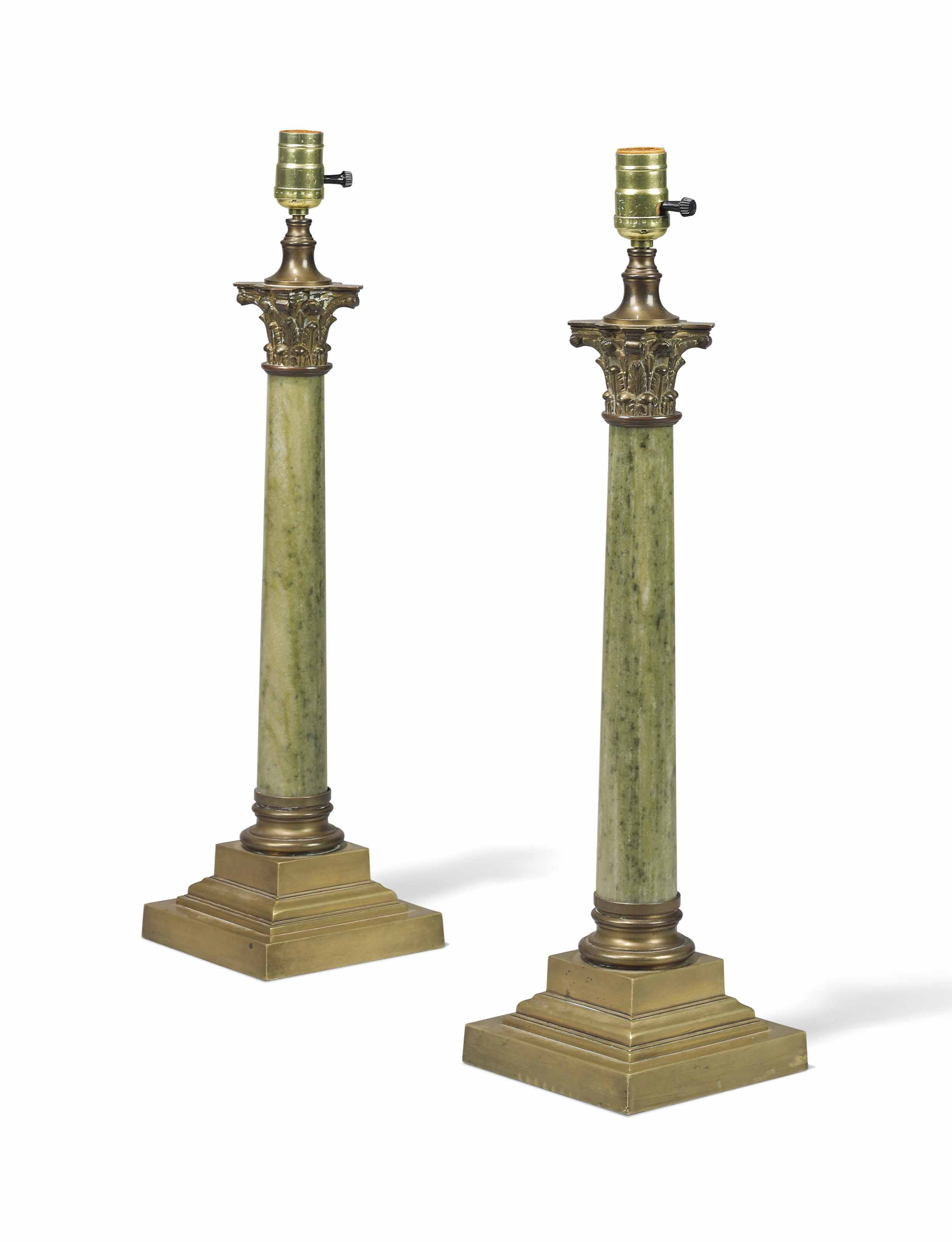 A PAIR OF GILT BRASS AND GREEN