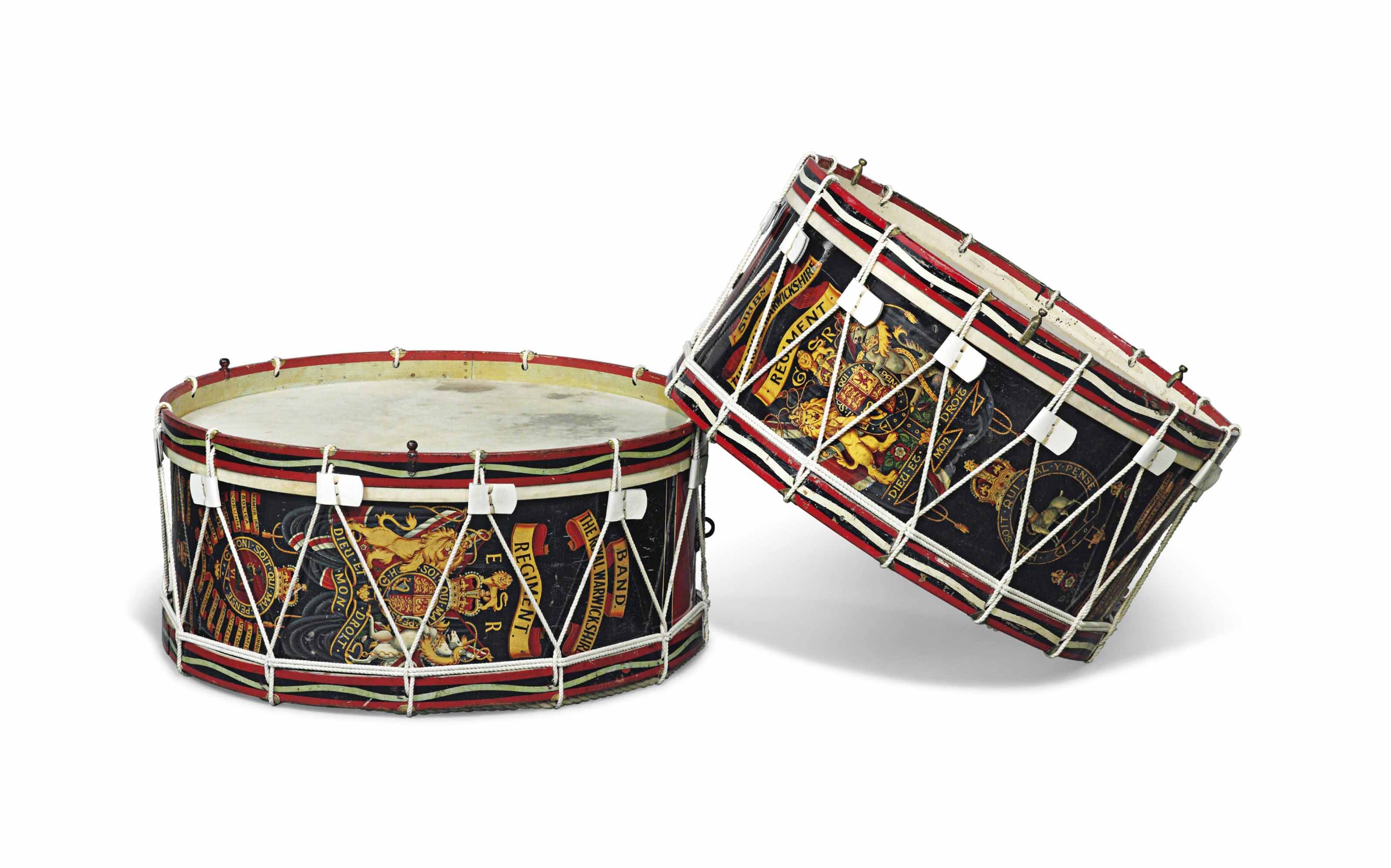 TWO MILITARY BAND DRUMS OF 'THE ROYAL WARWICKSHIRE REGIMENT'