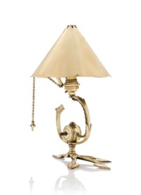A W.A.S. BENSON (1854-1924) ARTS & CRAFTS BRASS TABLE LAMP