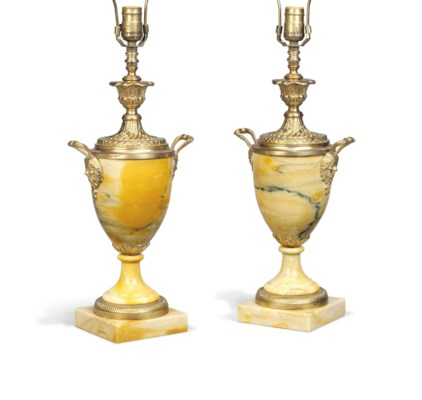 A PAIR OF FRENCH YELLOW MARBLE