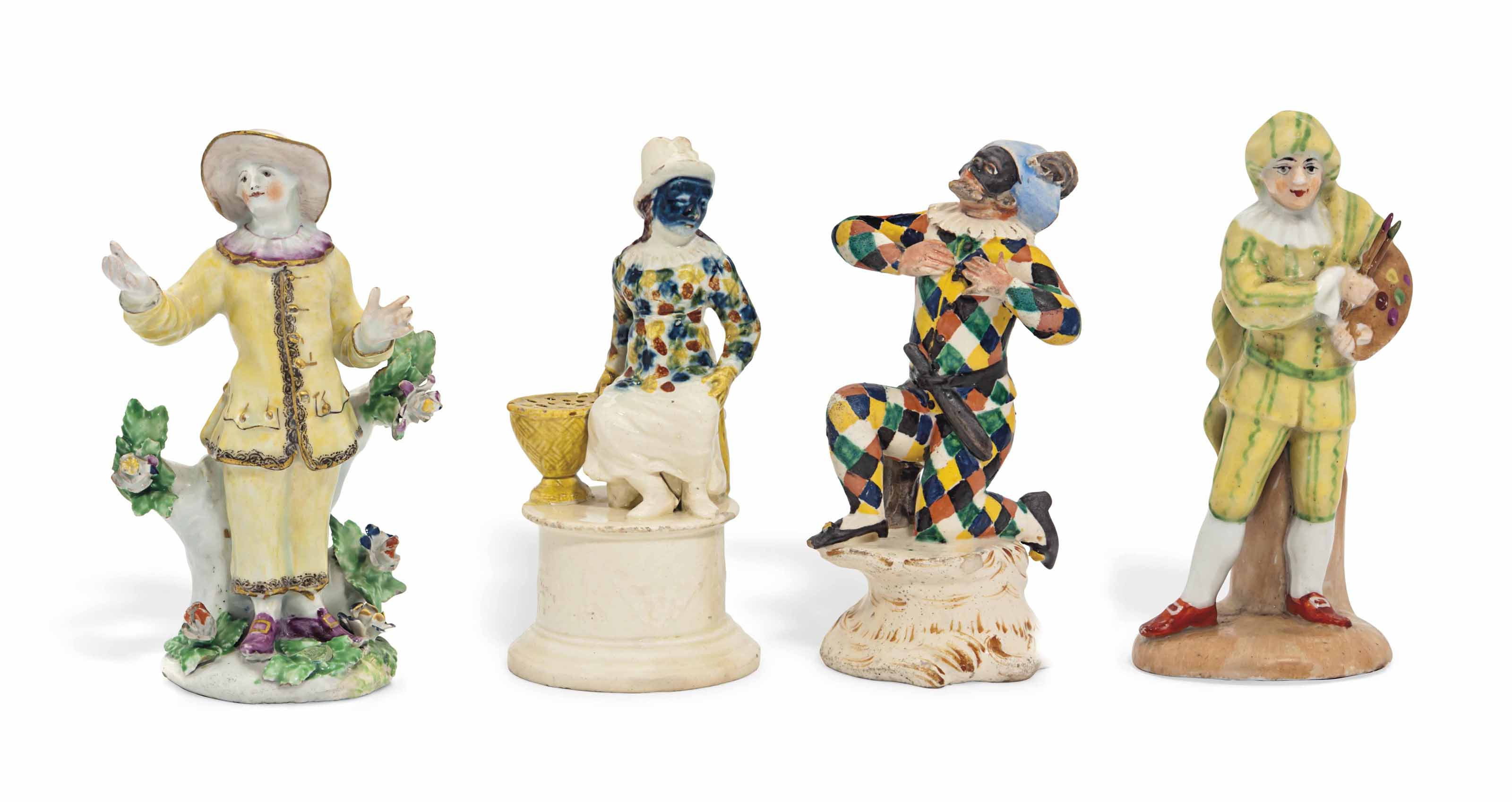FOUR PORCELAIN COMMEDIA DELL-A