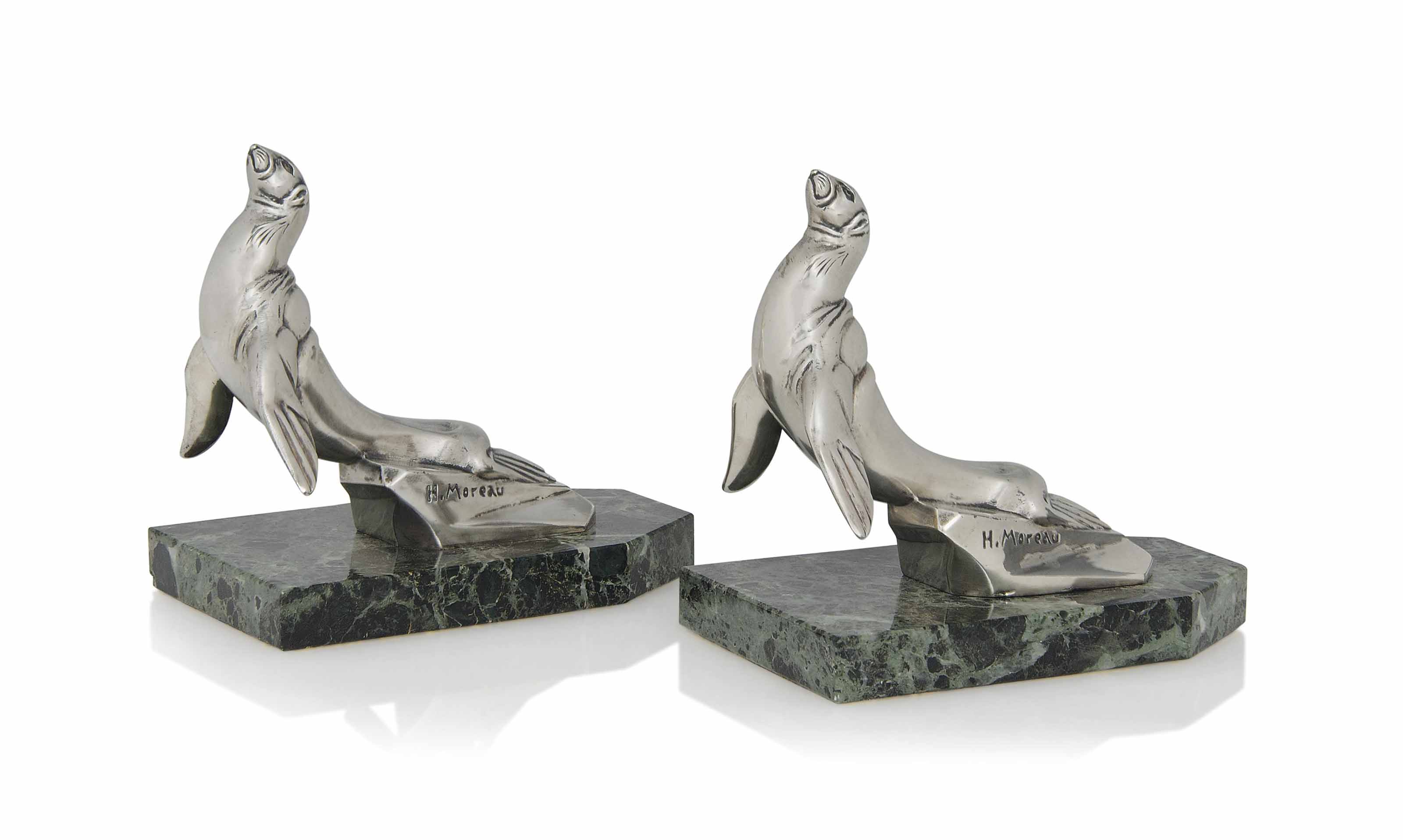 A PAIR OF H. MOREAU SILVERED-M