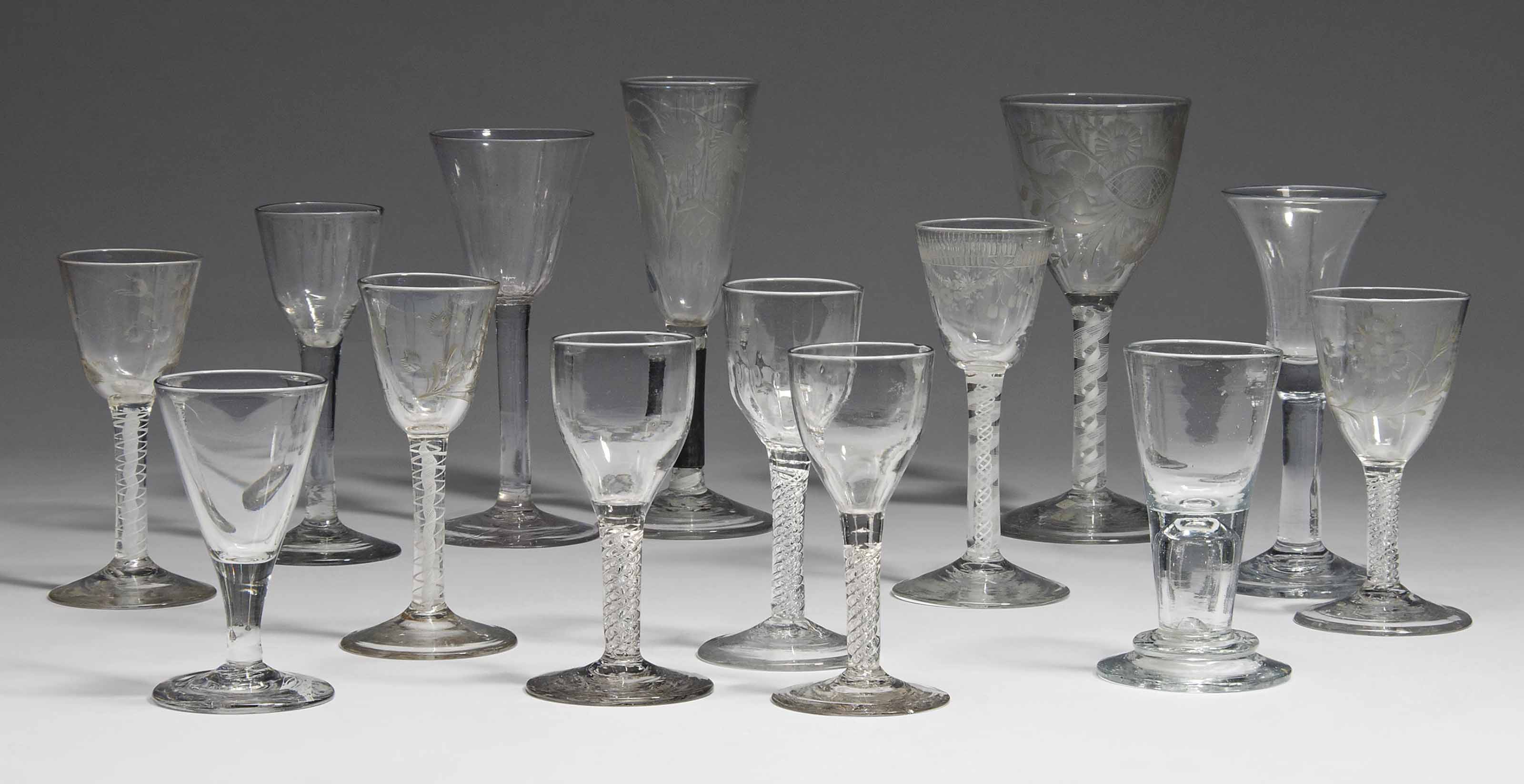 FOURTEEN ENGLISH DRINKING GLAS