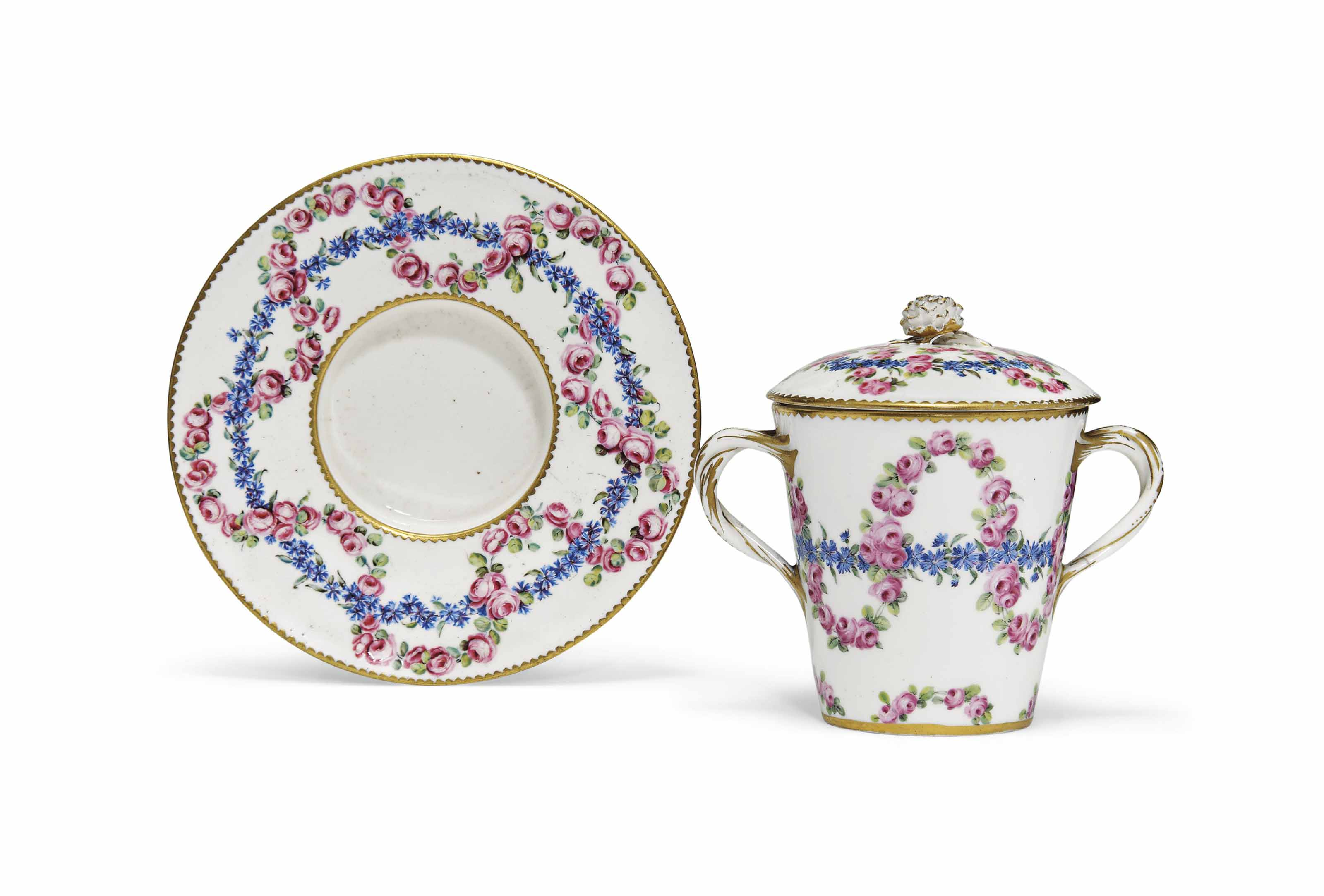 A SEVRES TWO-HANDLED CUP, COVE