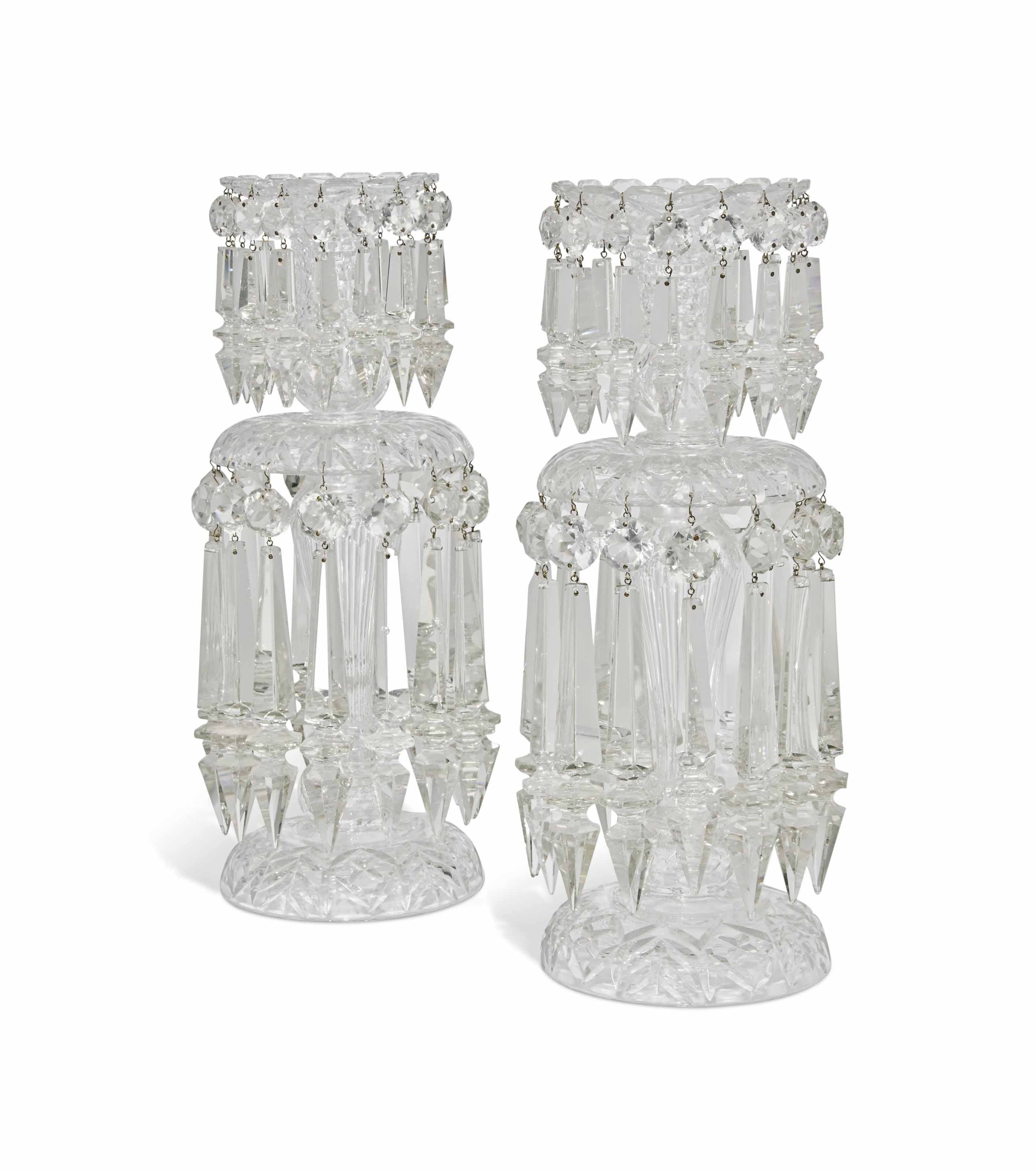 A LARGE PAIR OF CUT-GLASS LUST
