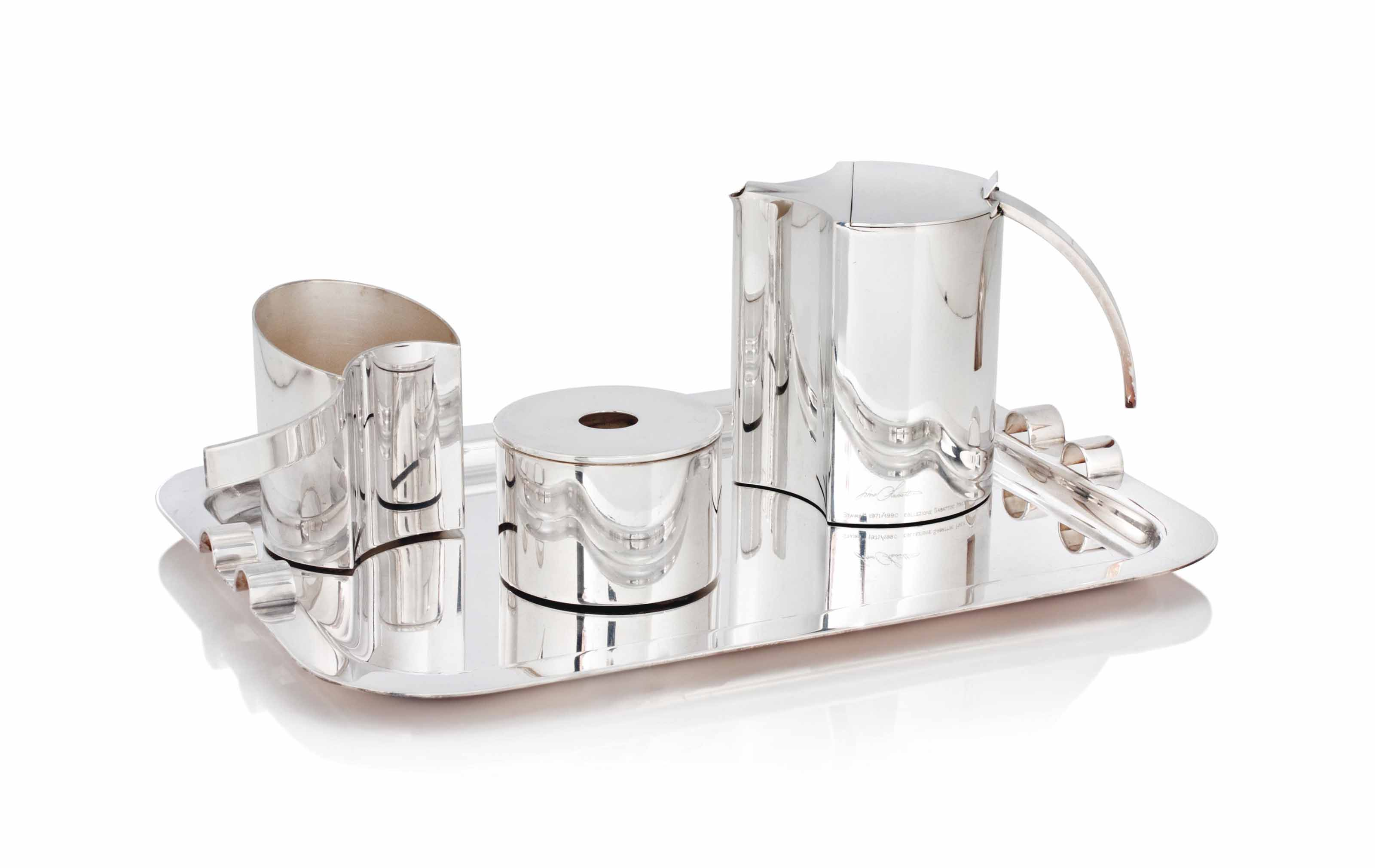 A LINO SABATTINI (B.1925) SILVER PLATED 'STAIRS' TEA/COFFEE SET