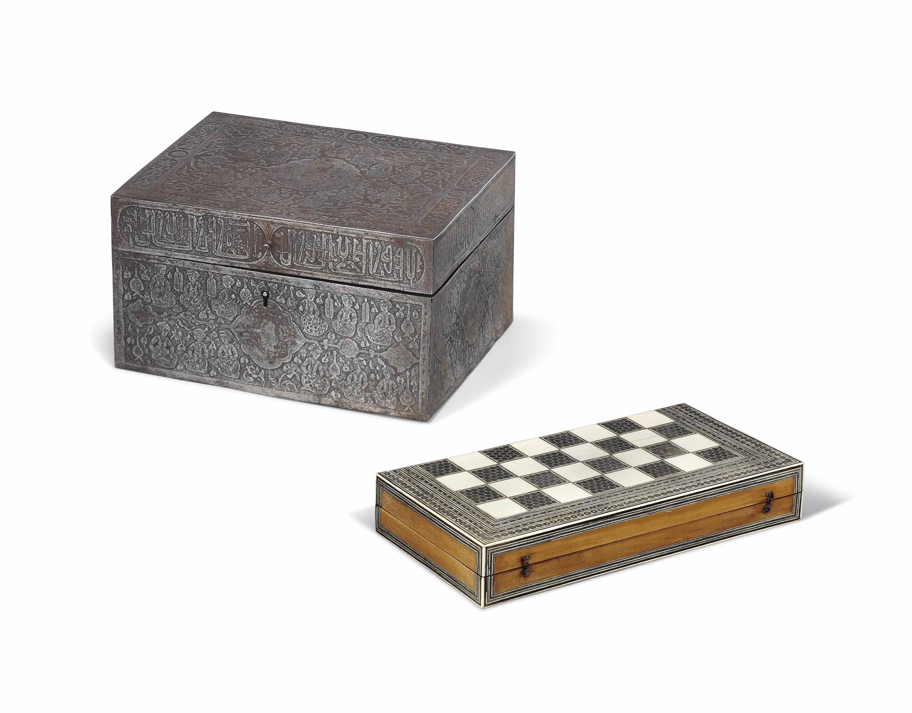 A PERSIAN ETCHED STEEL CASKET