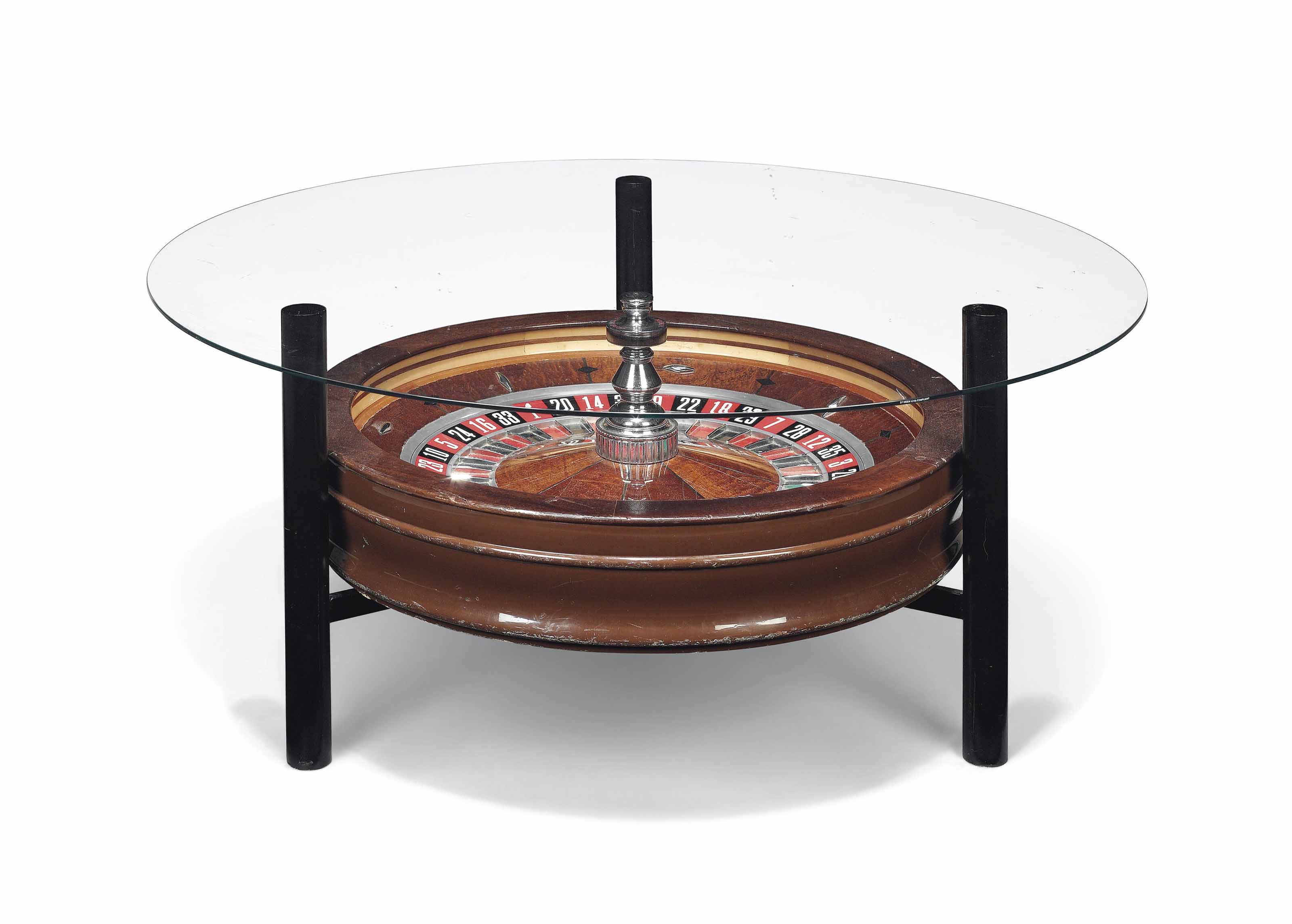 A NOVELTY ROULETTE WHEEL COFFEE TABLE SECOND HALF 20TH CENTURY