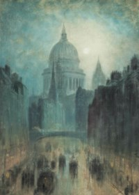 A view of the Strand on a moonlit evening, St. Pauls Cathedral beyond