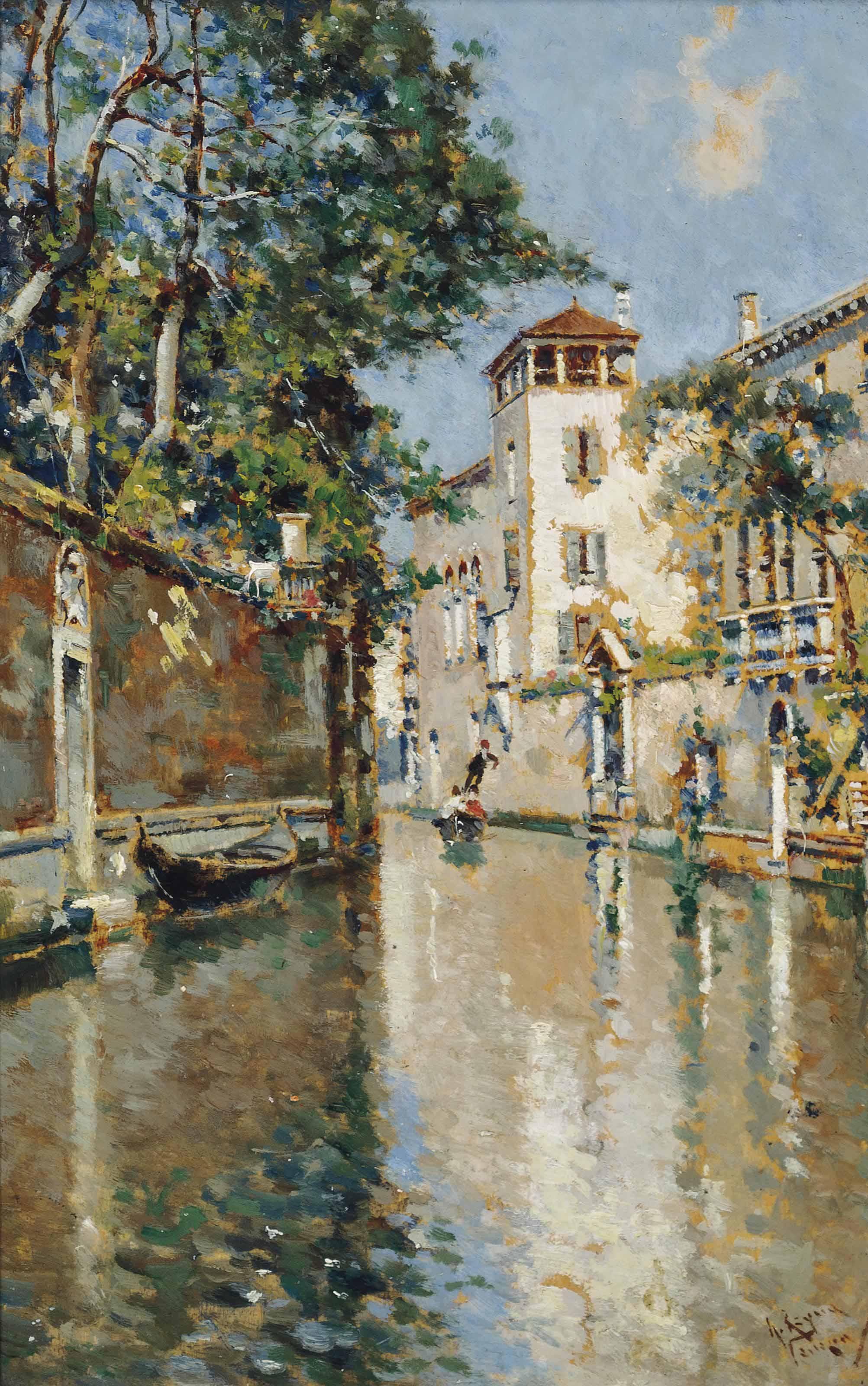 Gondola with figures on a Venetian backwater; and Figures a gondola on a Venetian backwater