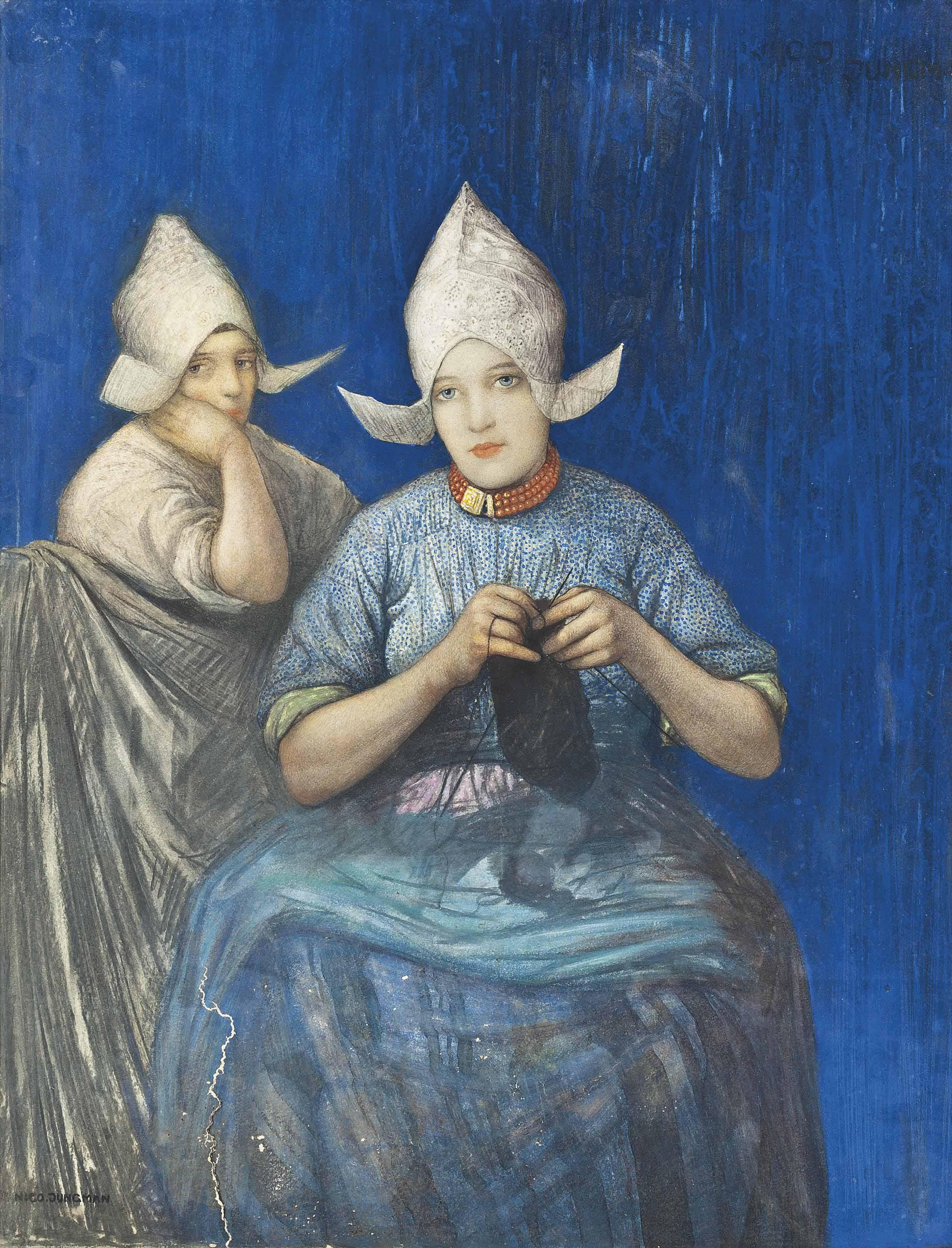 Two Dutch girls knitting