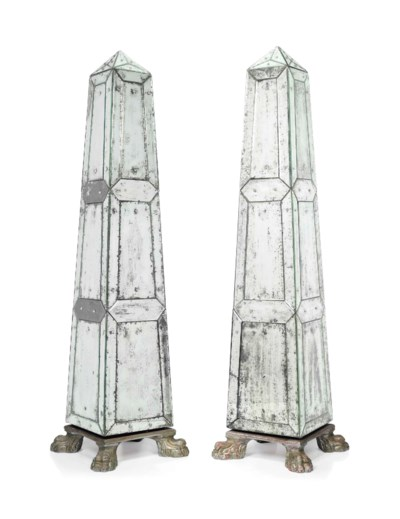 A LARGE PAIR OF BEVELLED GLASS