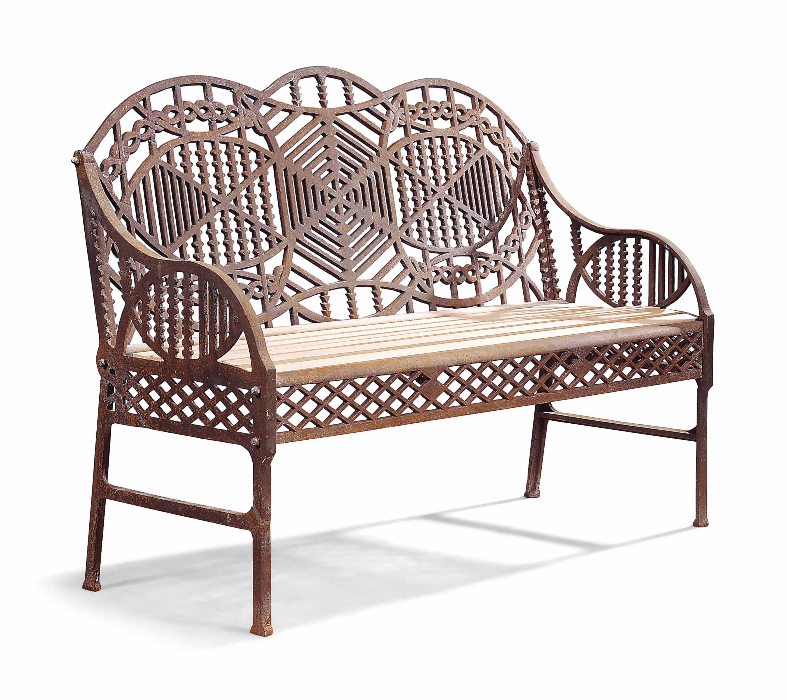 AN ENGLISH IRON GARDEN BENCH | AFTER A DESIGN BY EDWARD BAWDEN, CIRCA  1960u0027S | Garden Seats U0026 Tables, Furniture U0026 Lighting | Christieu0027s