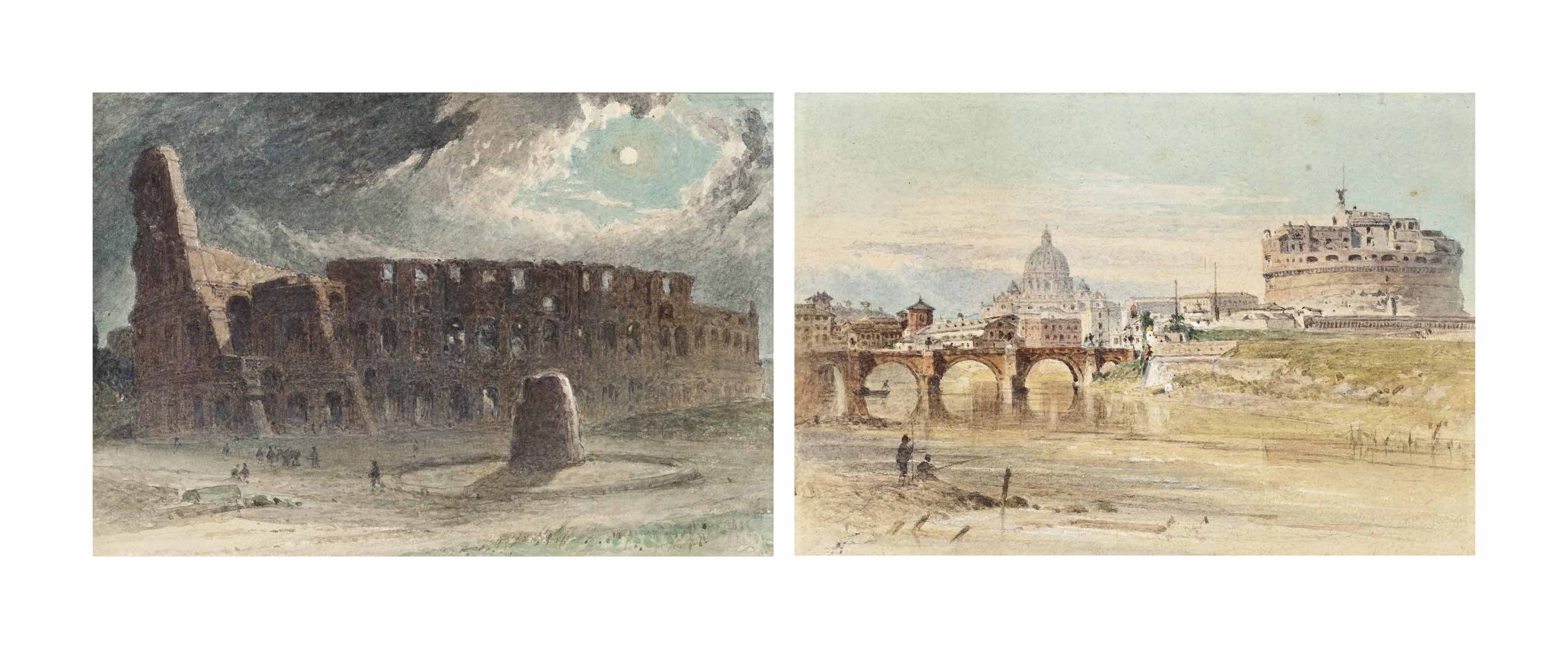 The Colosseum, Rome; and Tiber, a view of St Peter's Cathedral