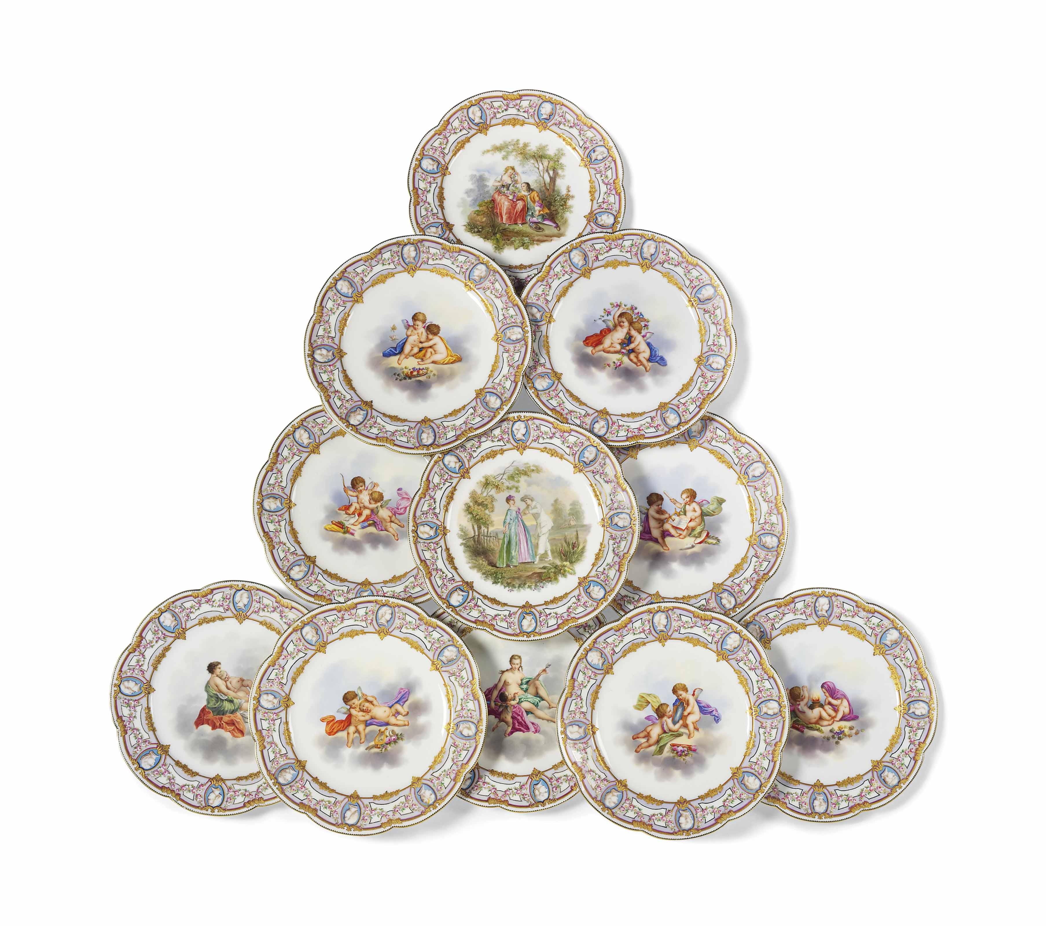 A SET OF ELEVEN SEVRES-STYLE P
