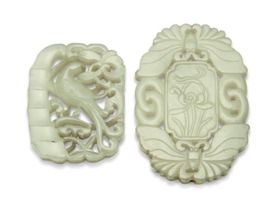 TWO CHINESE CARVED AND PIERCED