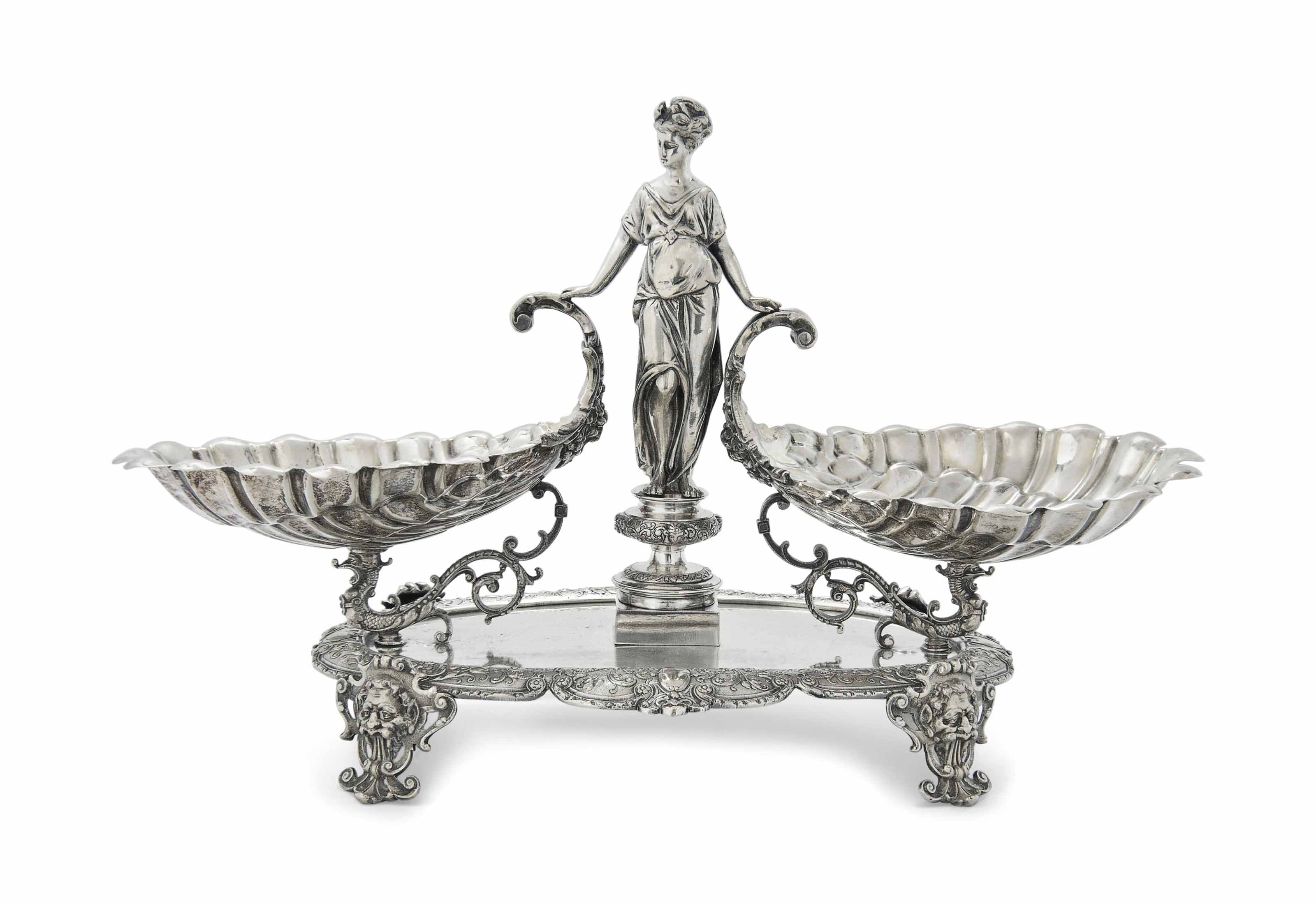 A SILVER-PLATED FIGURAL CENTRE