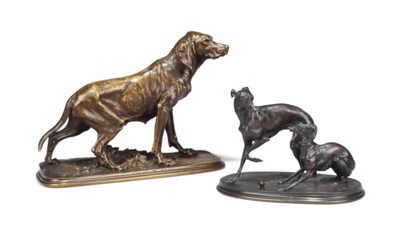 A FRENCH PATINATED BRONZE GROU