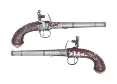 A FINE PAIR OF SILVER-MOUNTED