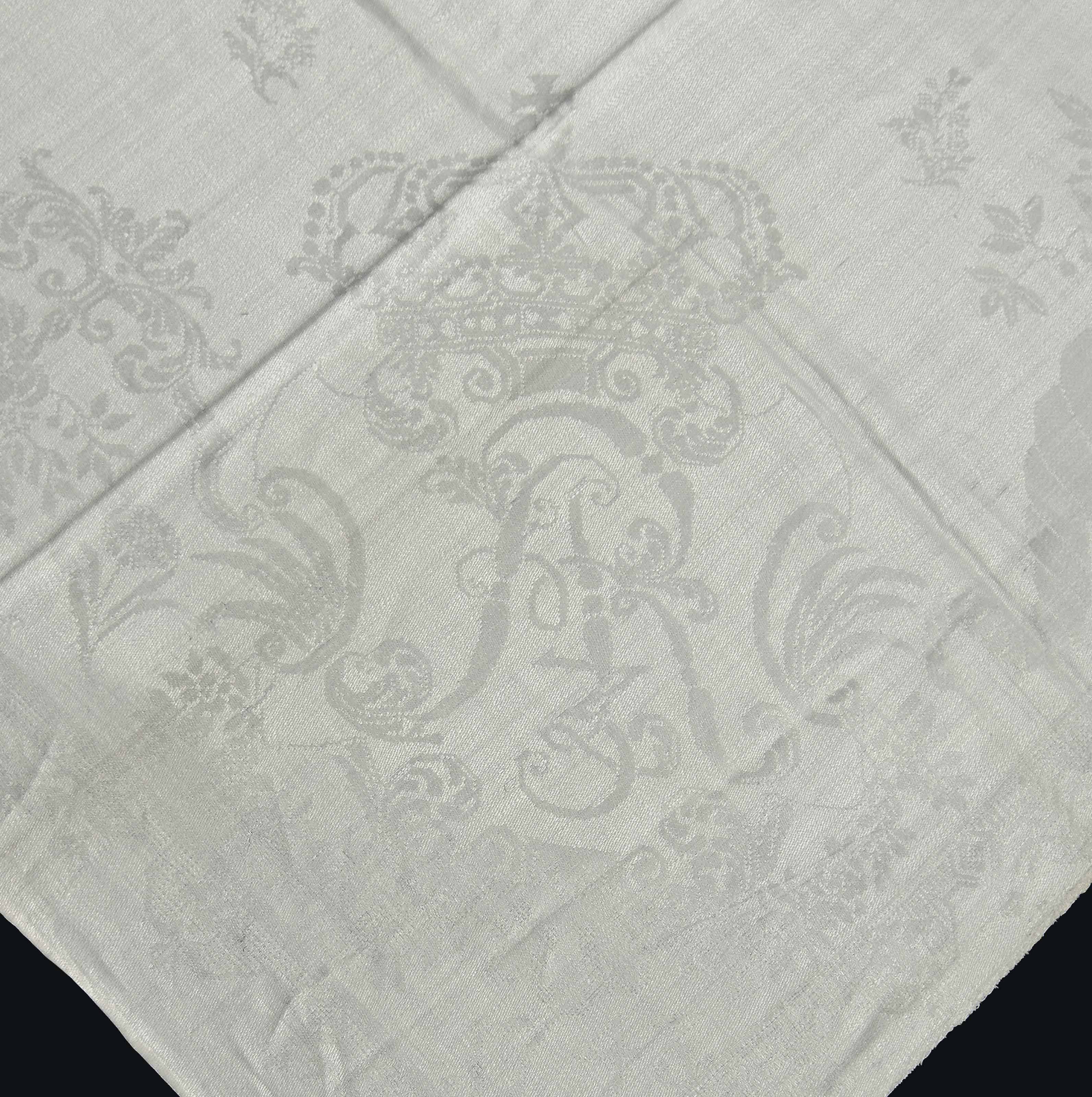 TWO SETS OF DAMASK LINEN LARGE