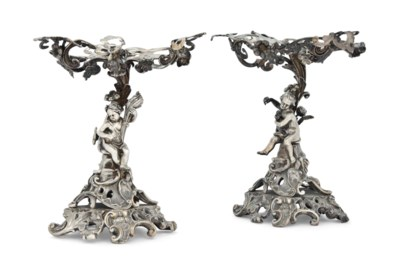 A PAIR OF GERMAN CAST SILVER F