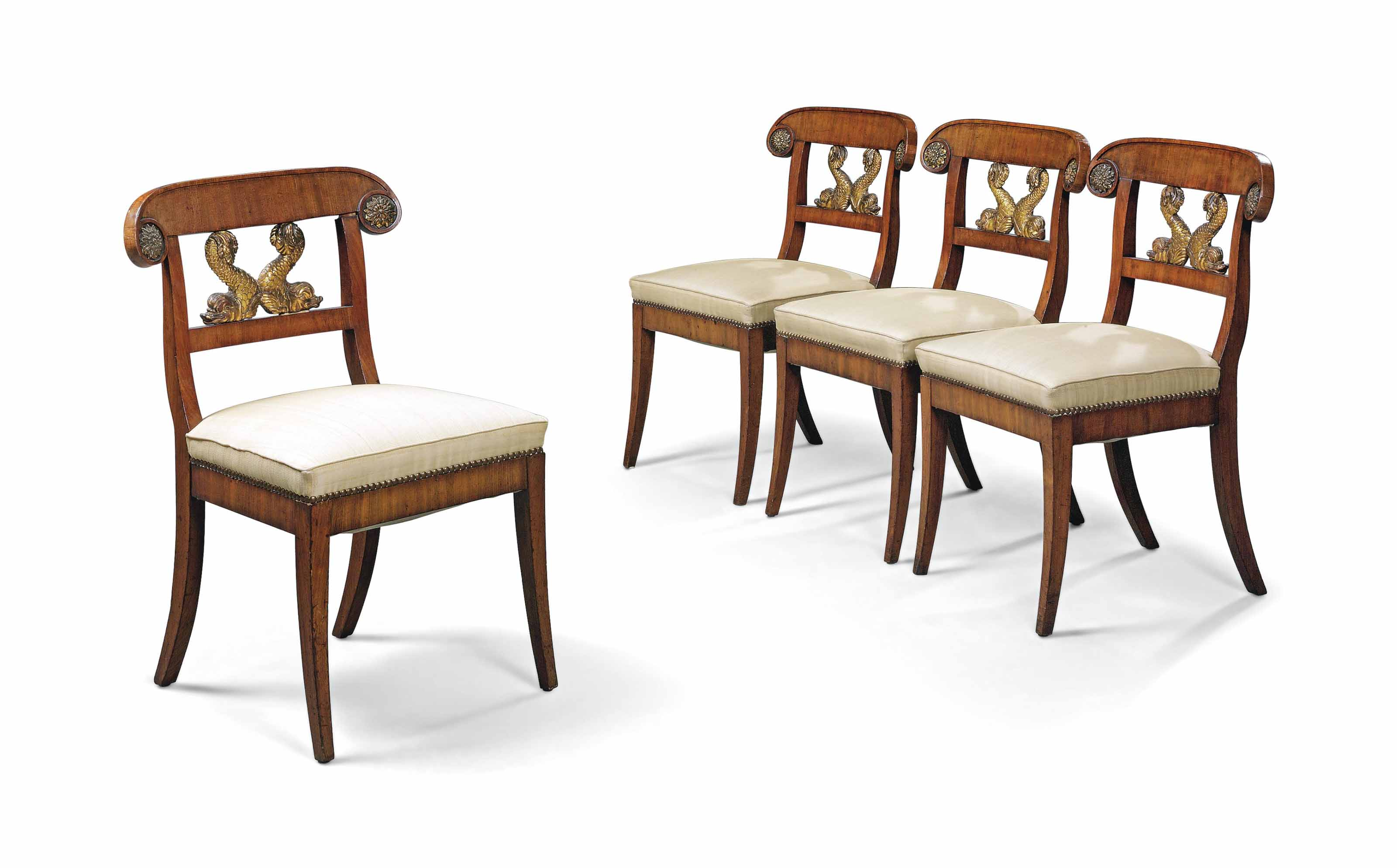 A SET OF FOUR SWEDISH MAHOGANY