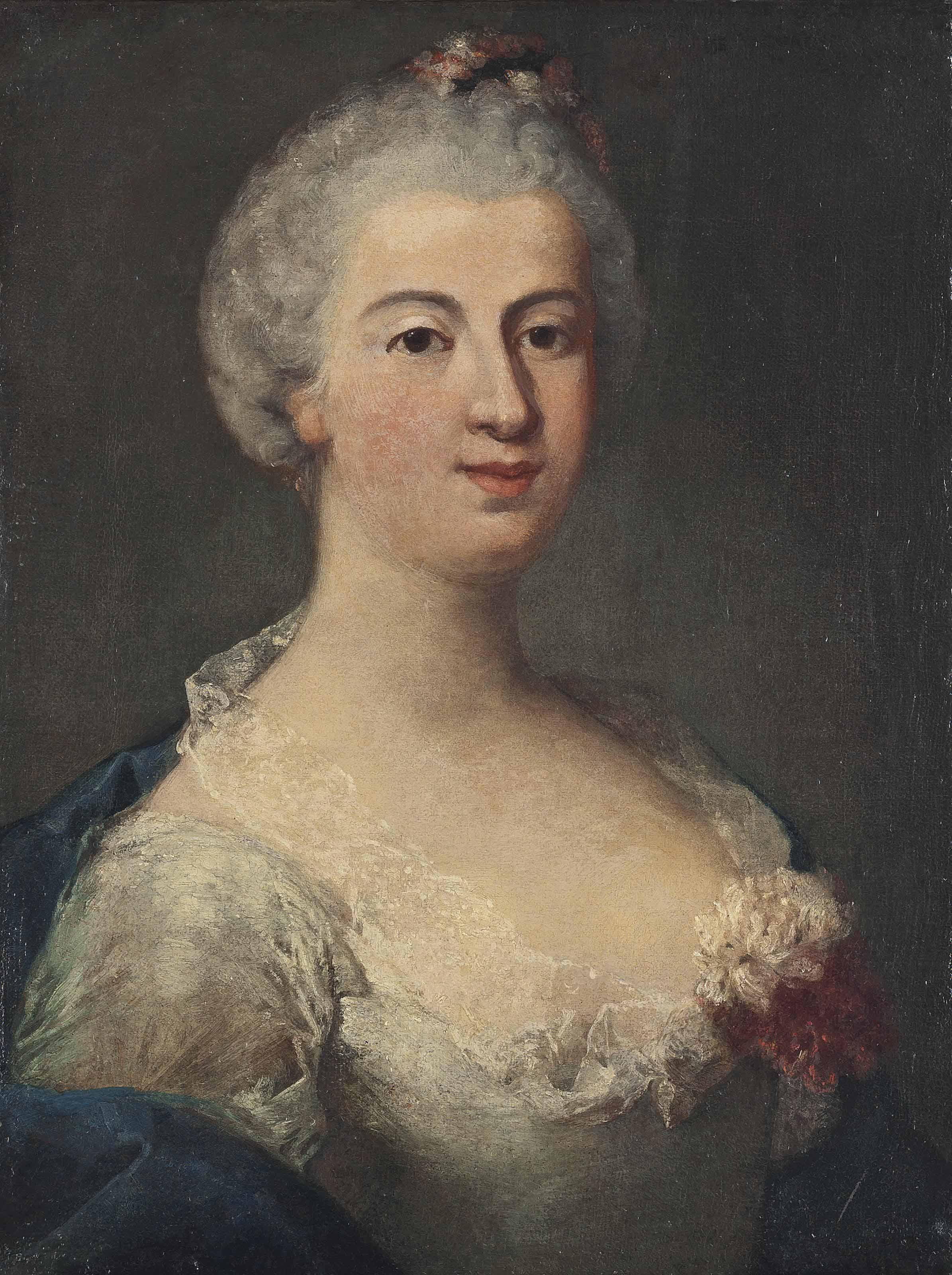 Portrait of a lady, bust-length, in a blue dress with a carnation