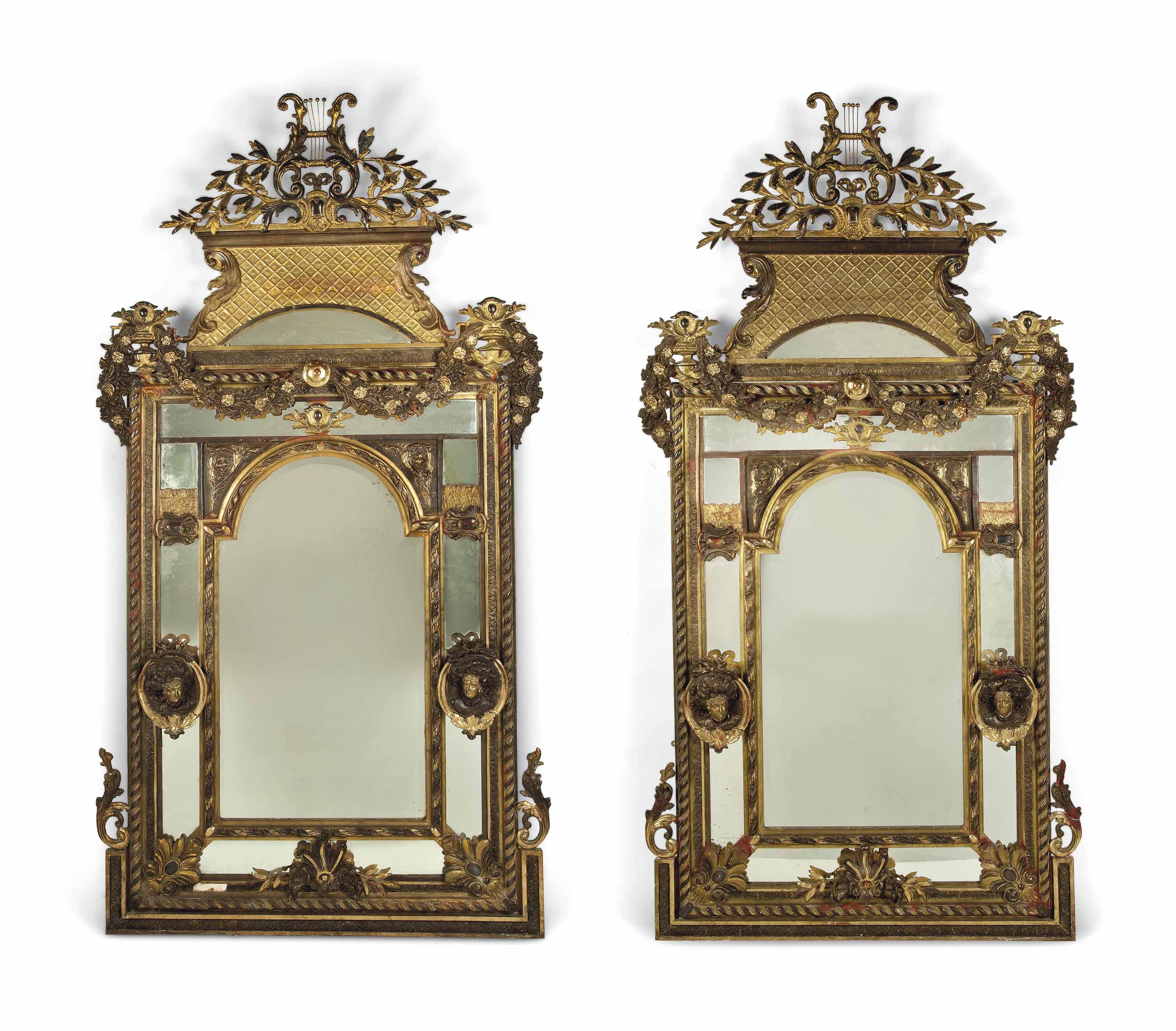 A PAIR OF MASSIVE GILTWOOD AND