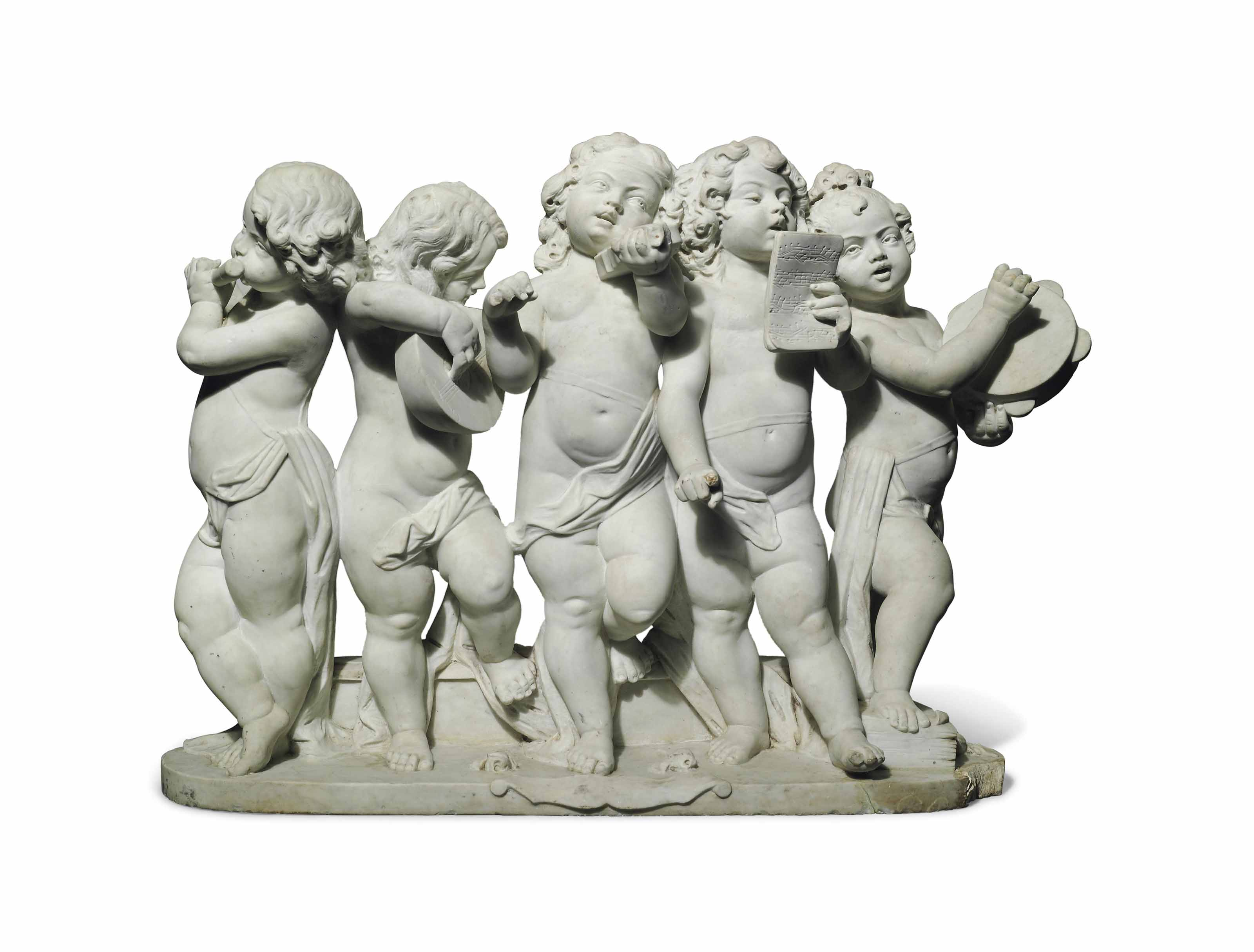 A MARBLE GROUP OF FIVE PUTTI M