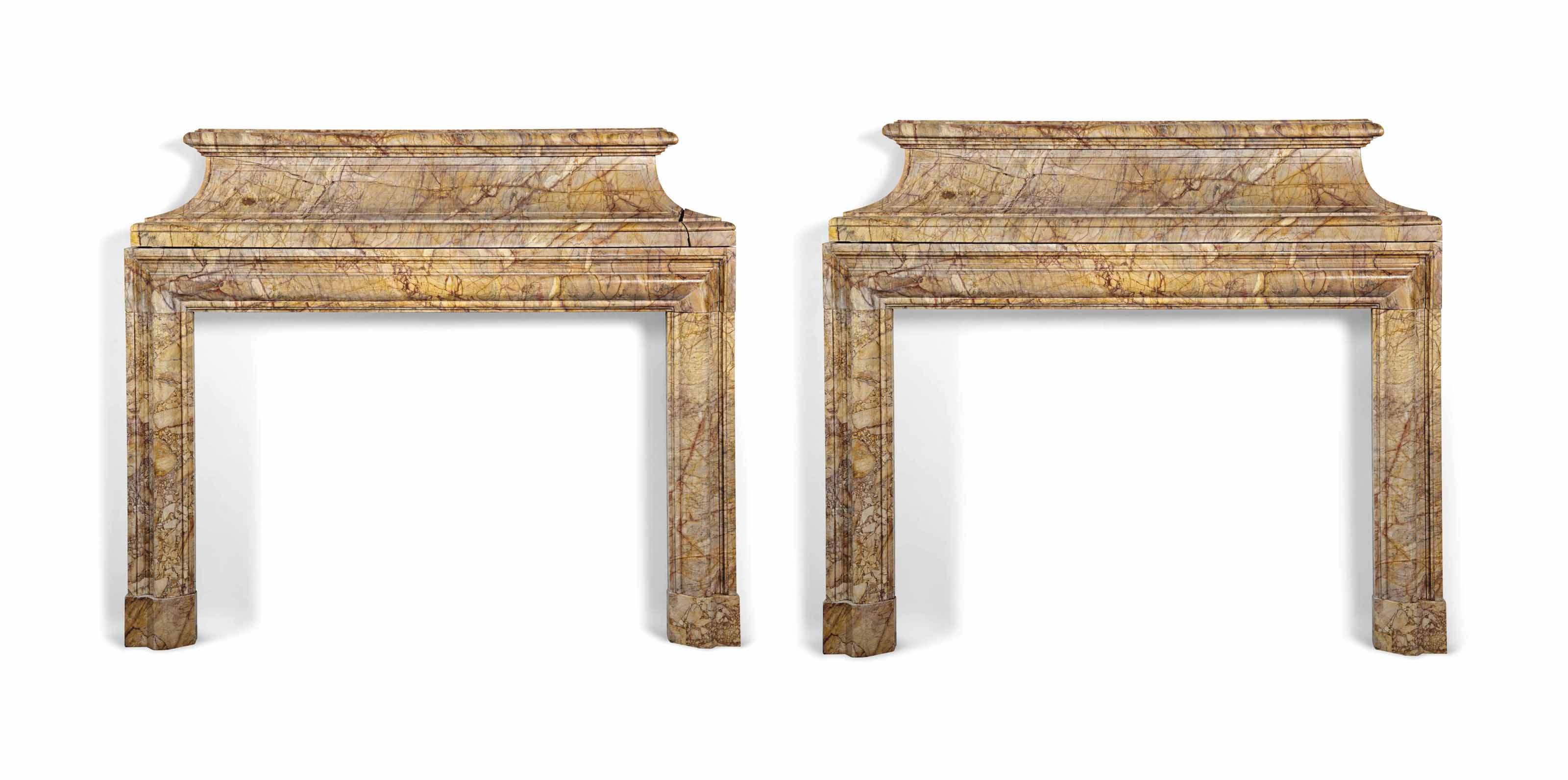 A PAIR OF MARBLE CHIMNEYPIECES