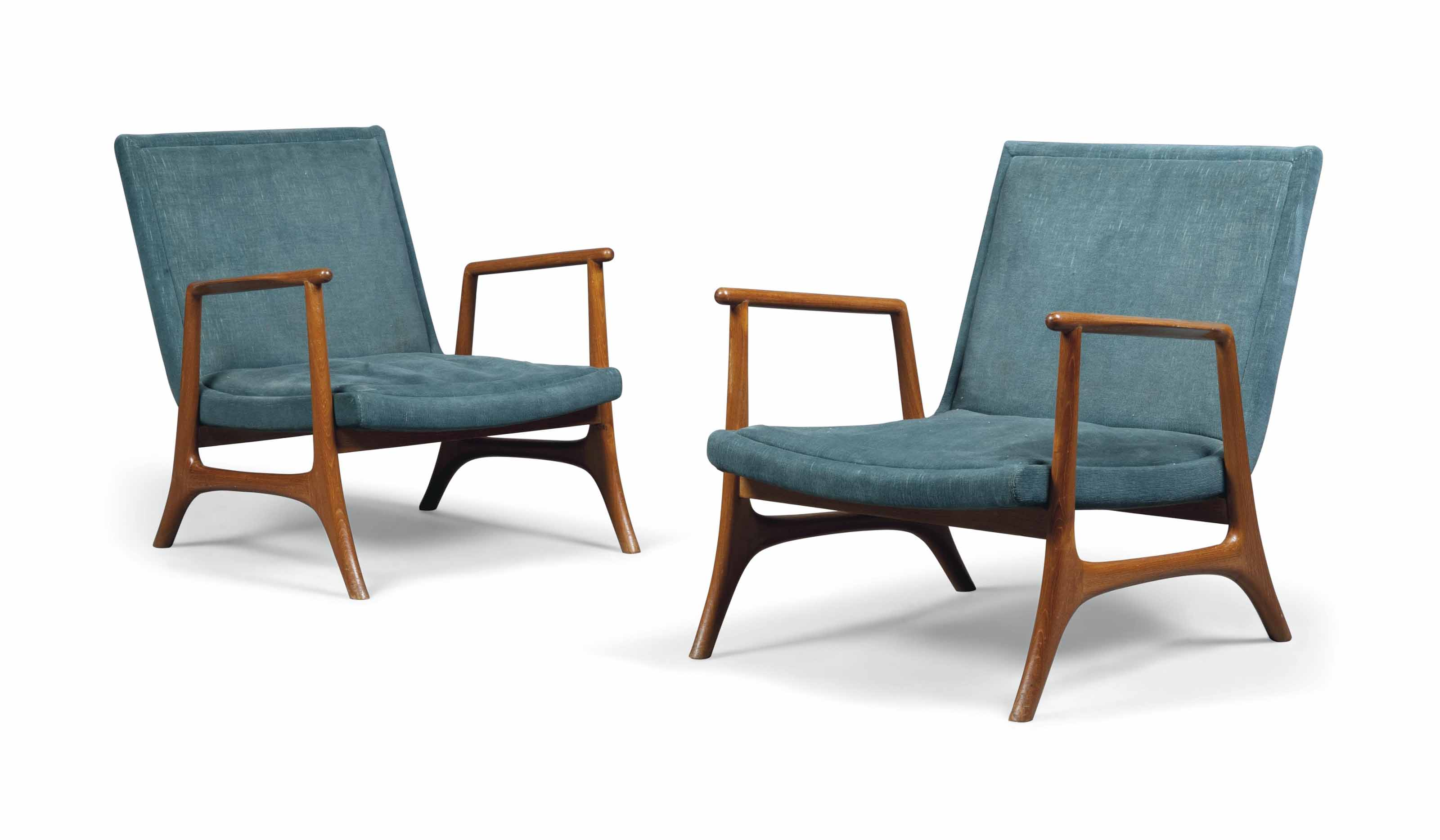 A PAIR OF TEAK AND UPHOLSTERED