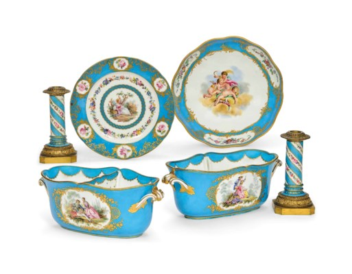 A GROUP OF SEVRES (LATER DECOR