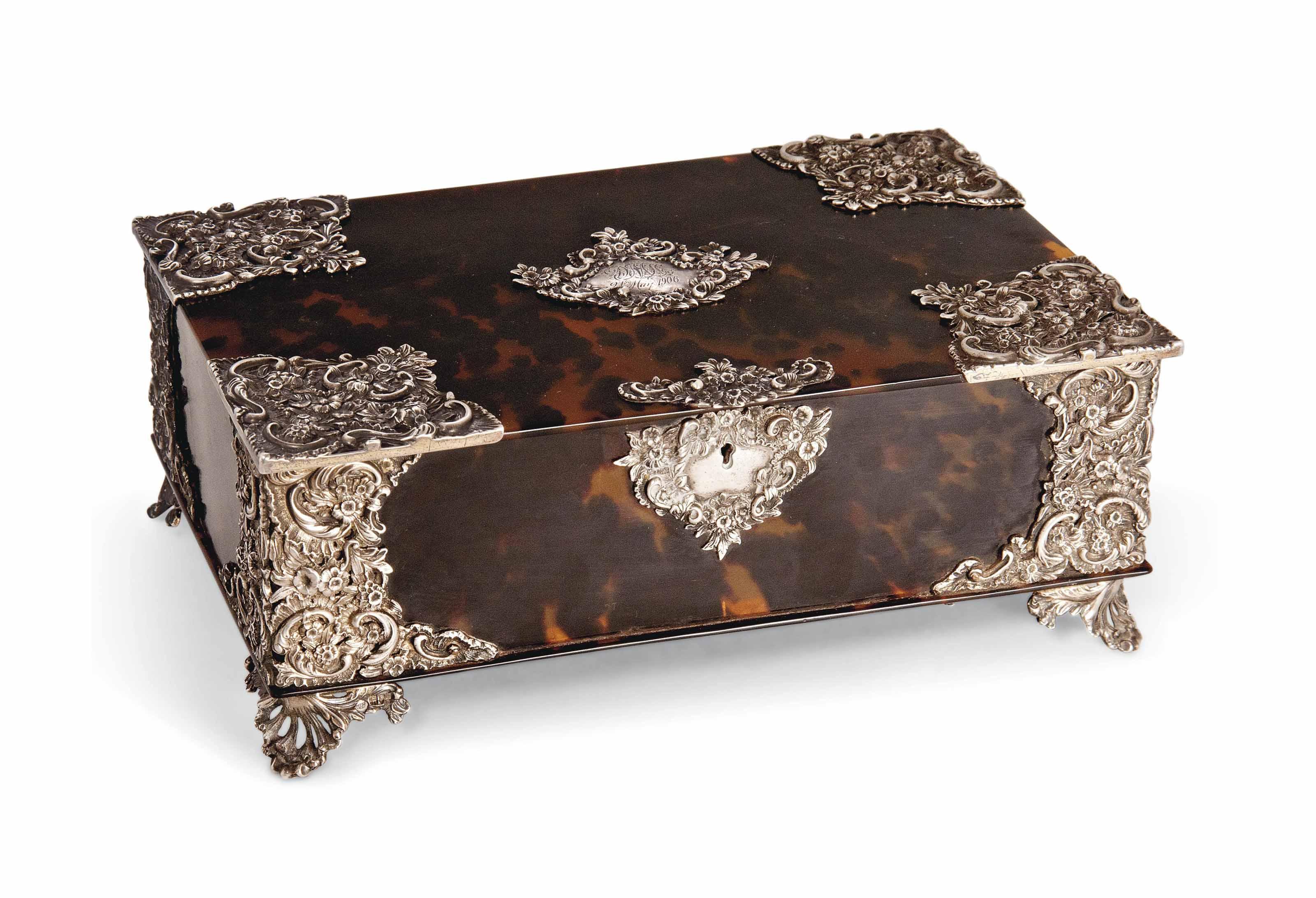 A LATE VICTORIAN SILVER-MOUNTED TORTOISESHELL BOX