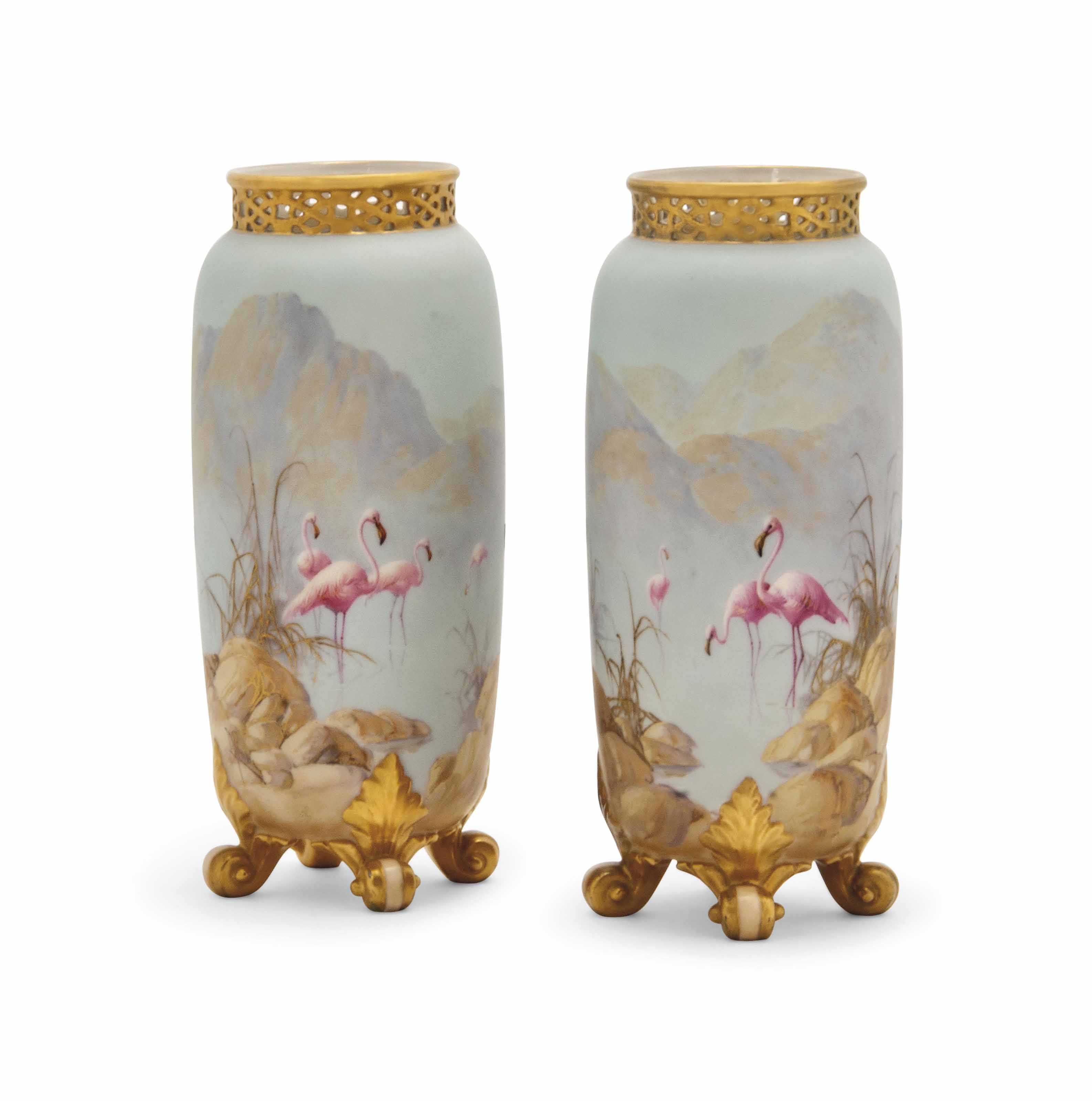 A PAIR OF ROYAL WORCESTER VASE