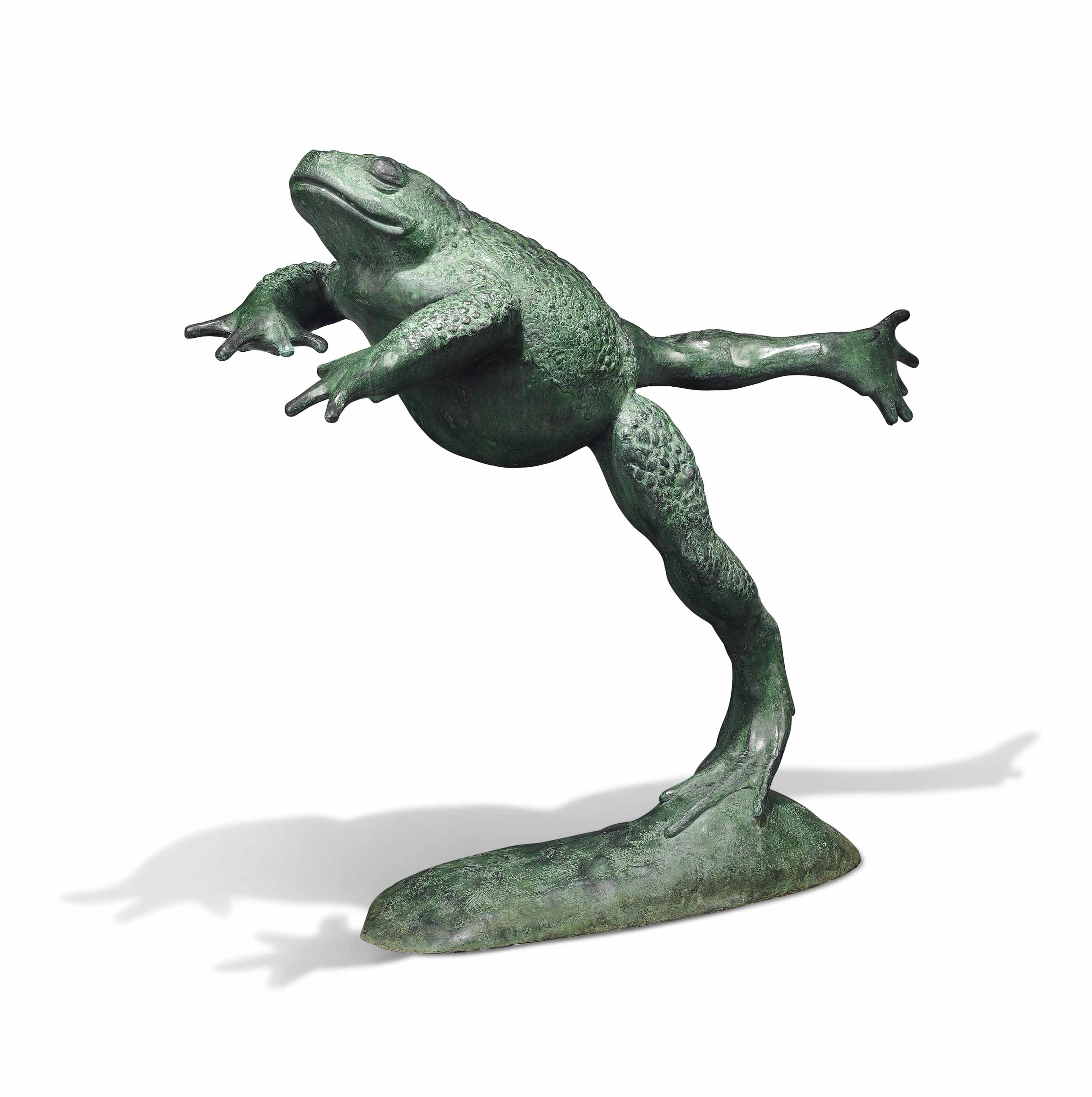A LARGE BRONZE MODEL OF A TOAD