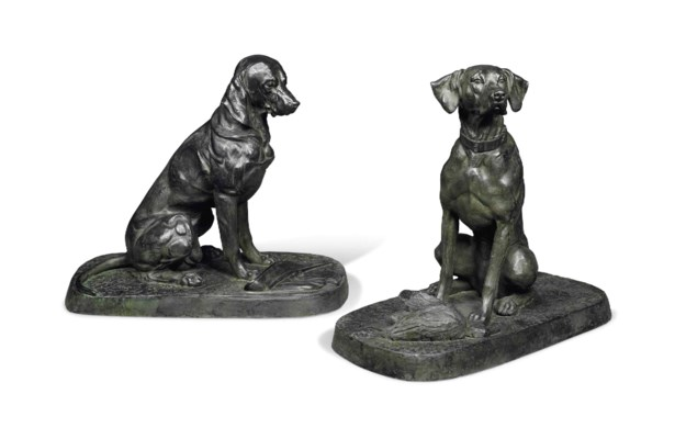 A PAIR OF LIFE-SIZE BRONZE MOD