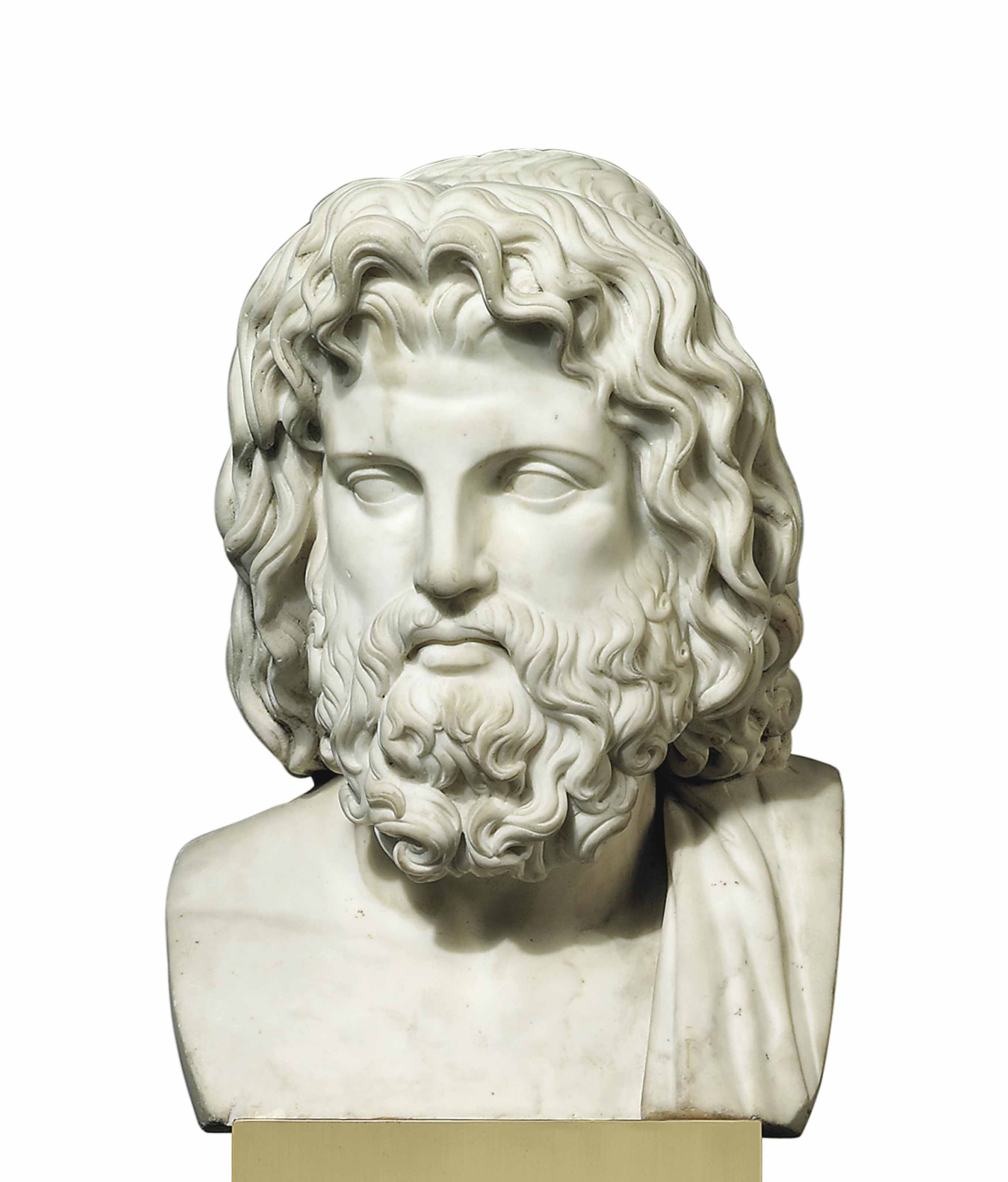 A WHITE MARBLE BUST OF ZEUS