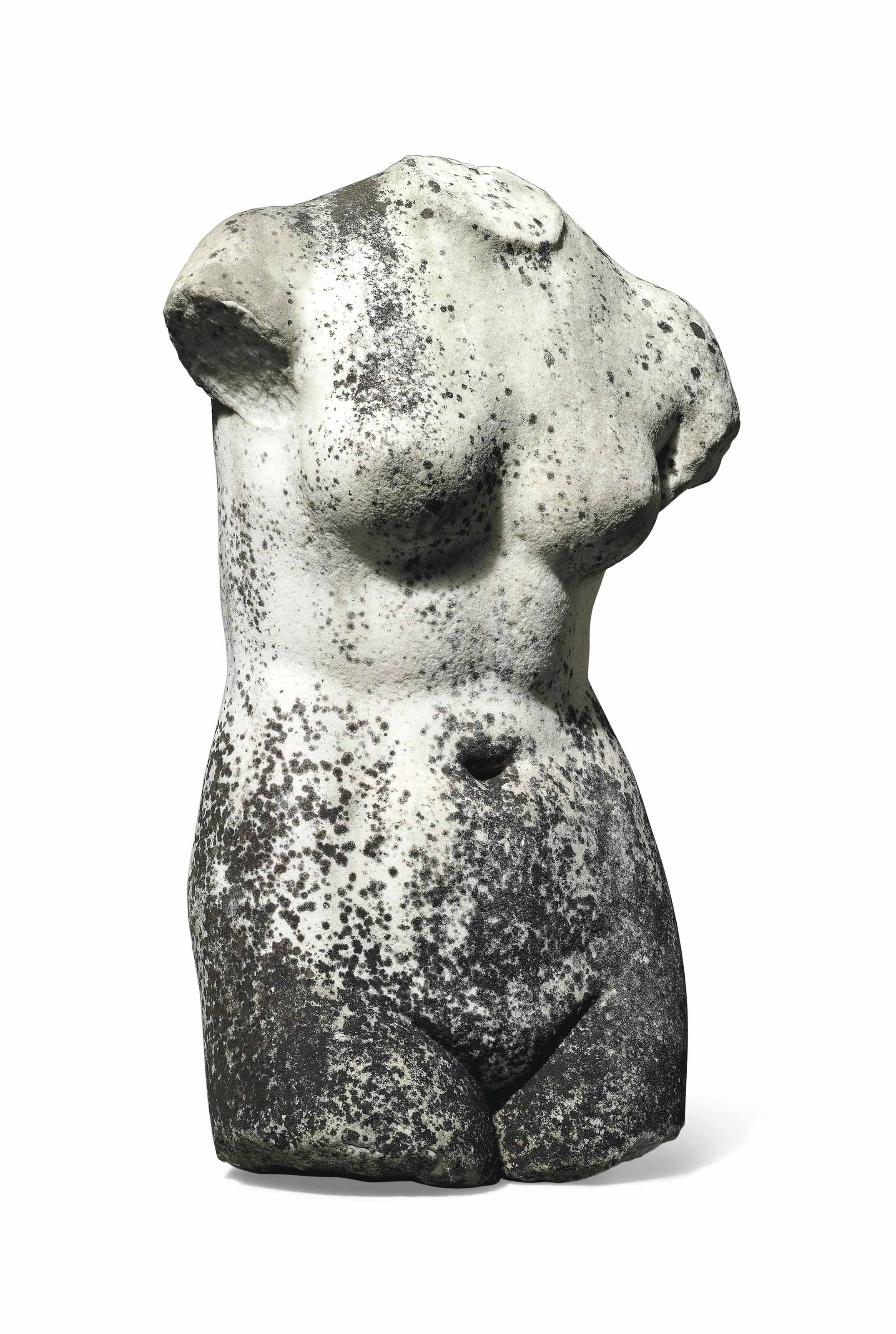 A WHITE MARBLE CLASSICAL TORSO