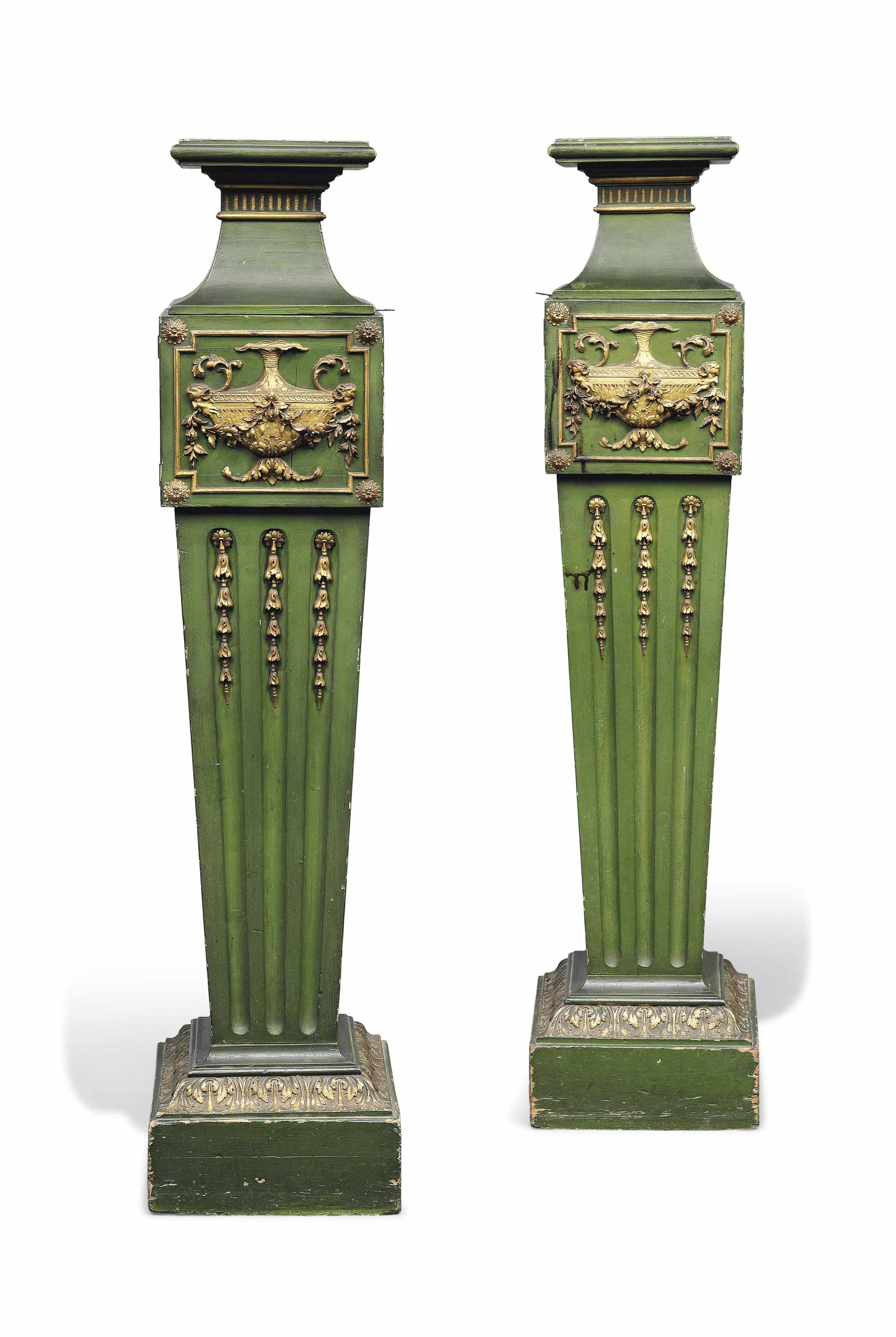A PAIR OF PAINTED WOOD PEDESTA