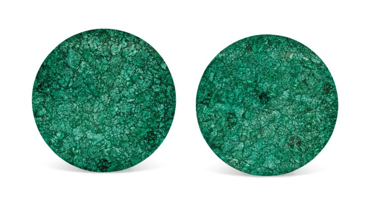 A PAIR OF MALACHITE TABLE TOPS