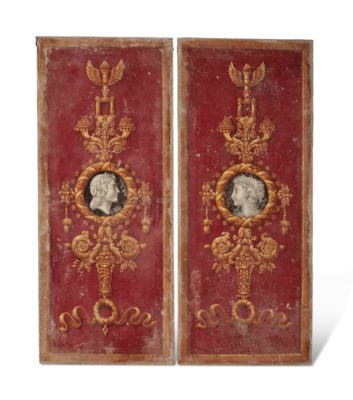 A PAIR OF PAINTED CANVAS PORTR