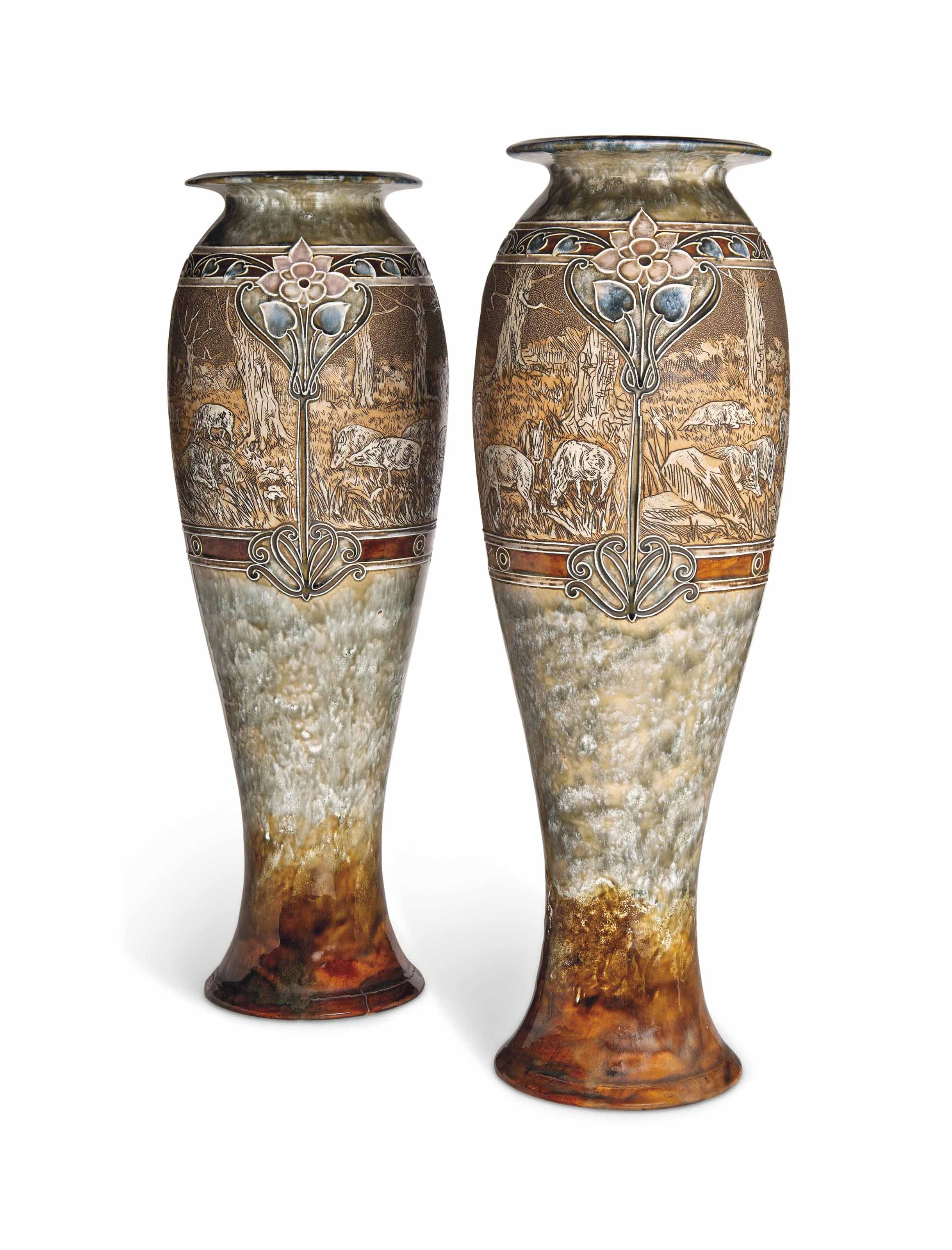A LARGE PAIR OF DOULTON STONEW