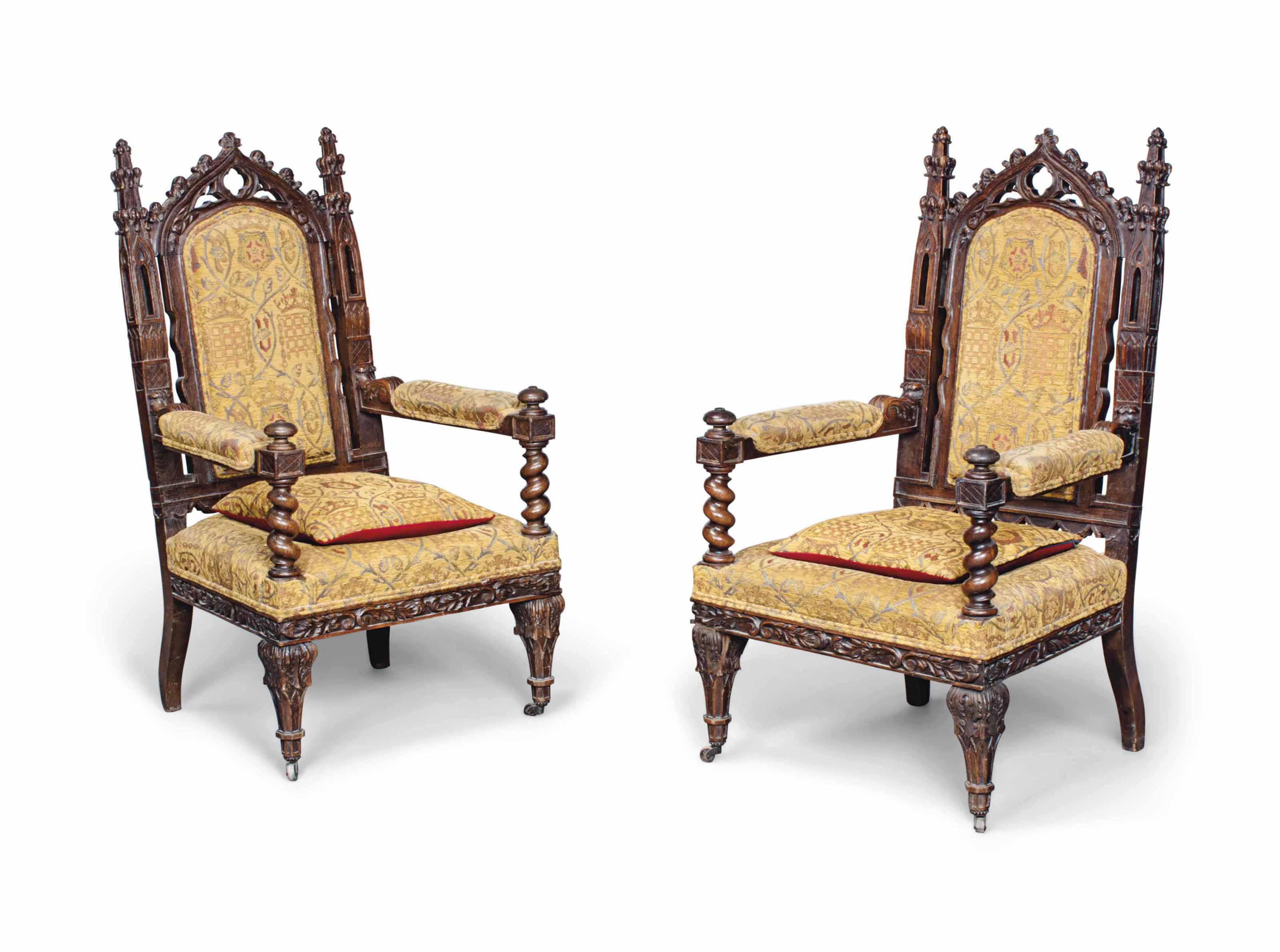 A PAIR OF FRENCH GOTHIC OAK AR