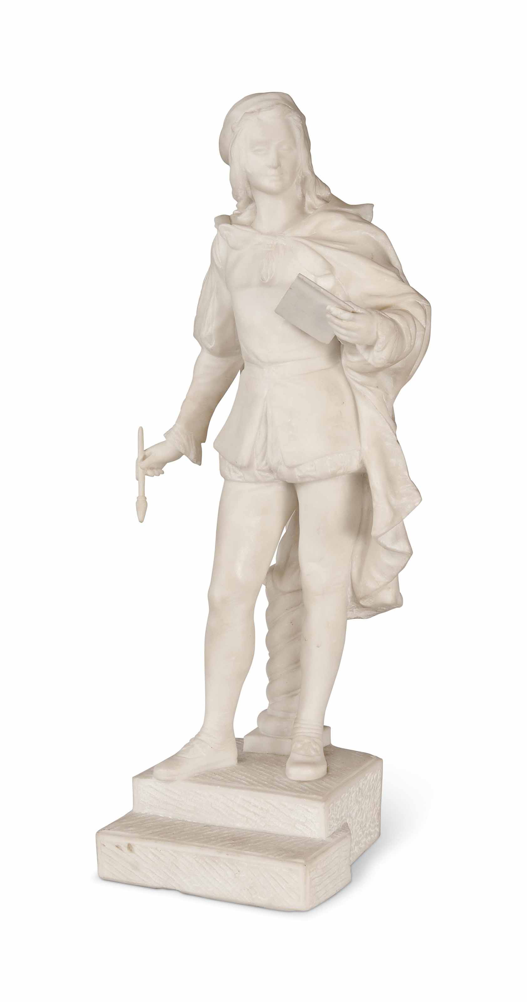 A FRENCH WHITE MARBLE FIGURE OF RAPHAEL