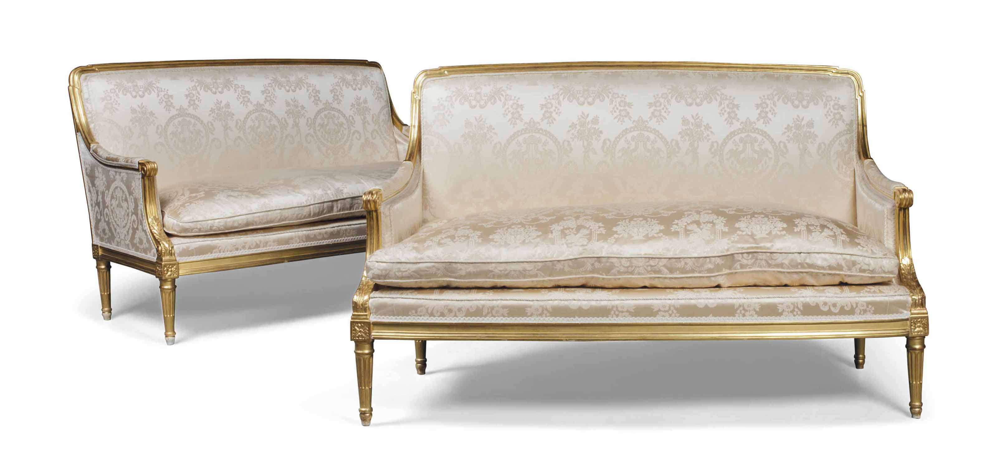 A PAIR OF FRENCH GILTWOOD SOFA
