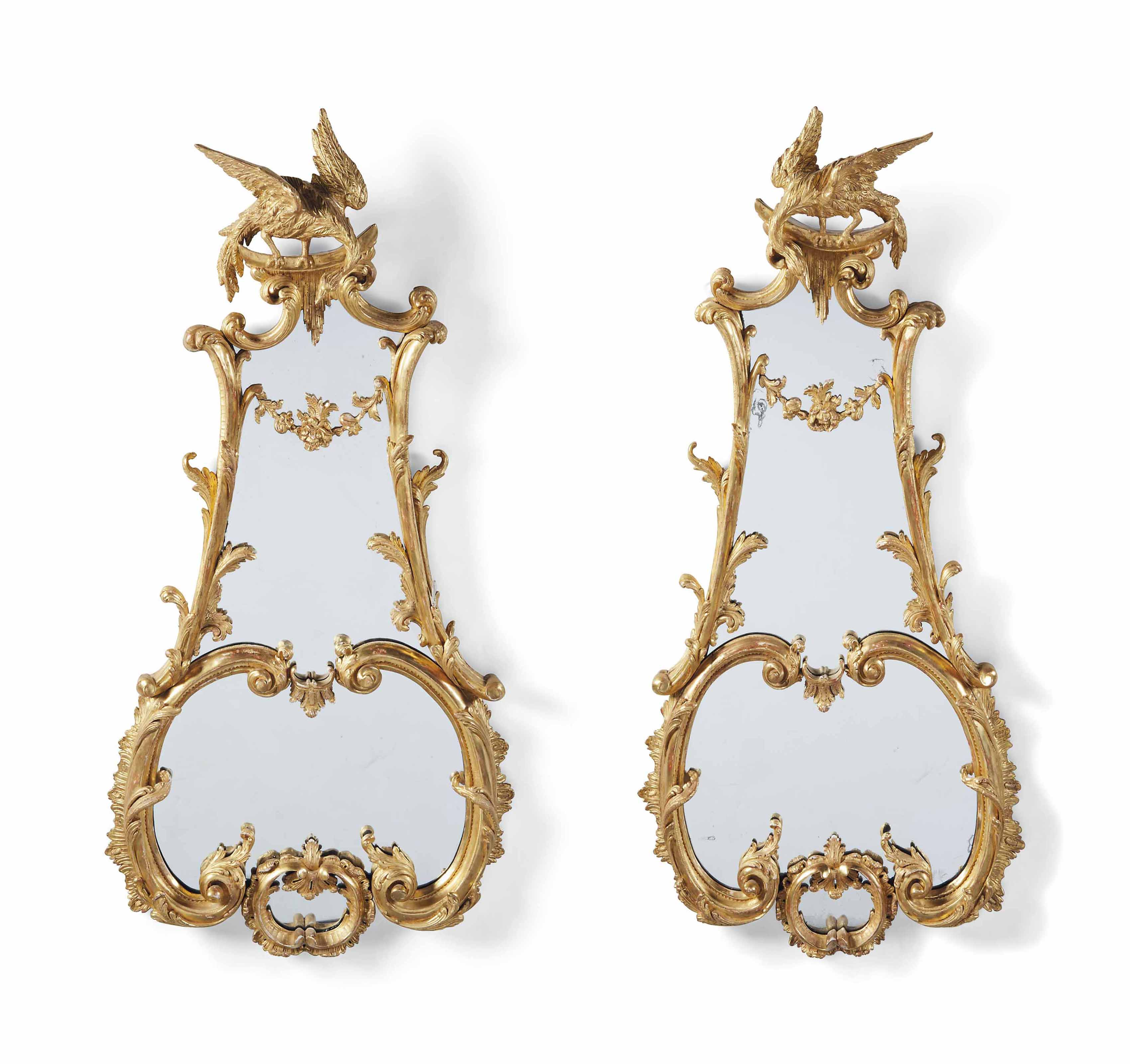 A PAIR OF LARGE GILTWOOD LYRE-