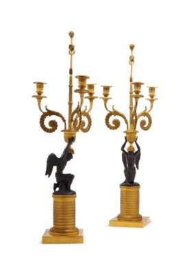 A PAIR OF RUSSIAN BRONZE AND G