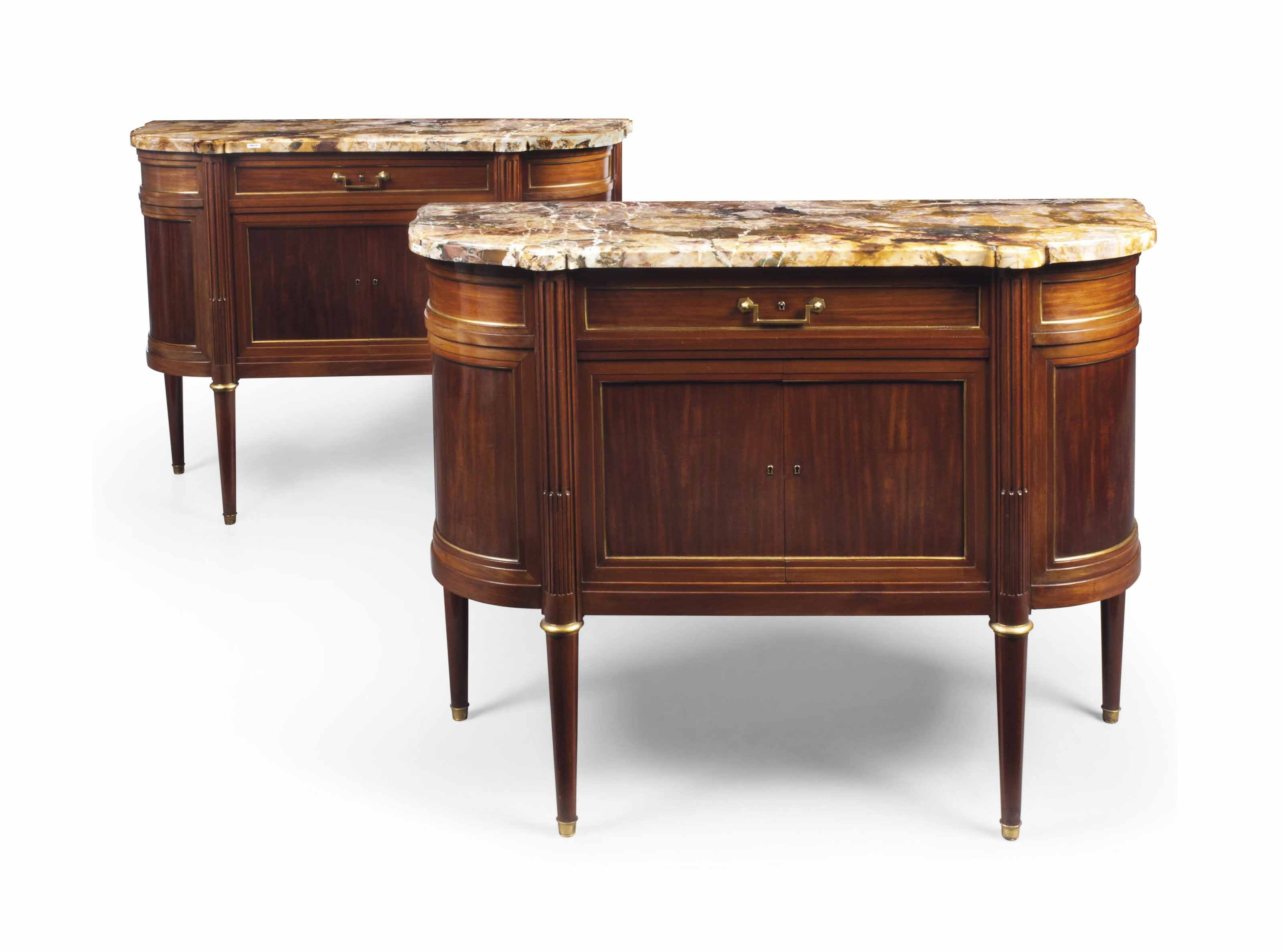 A PAIR OF MARBLE-TOP AND BRASS