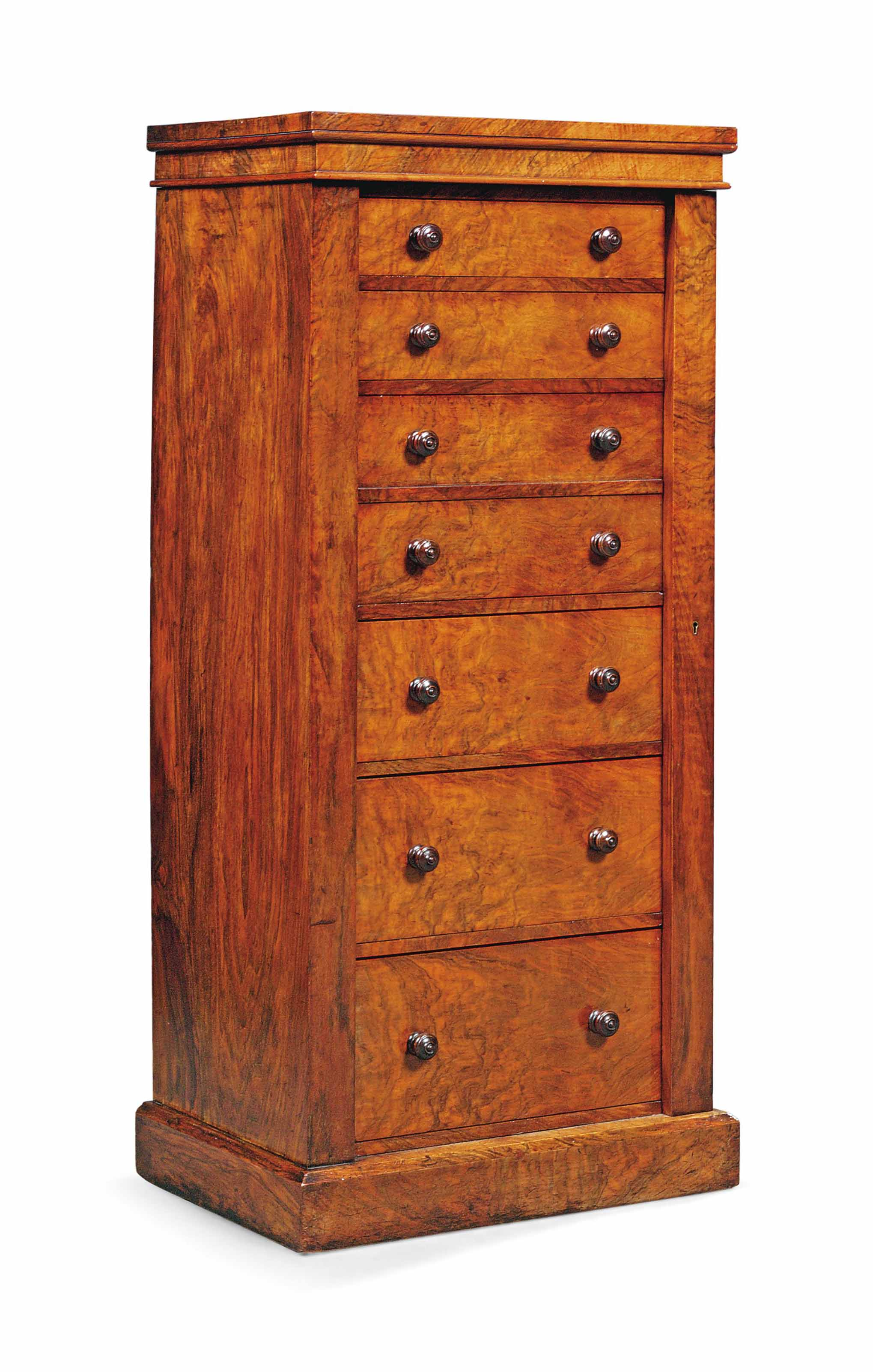 A VICTORIAN FIGURED WALNUT SEC