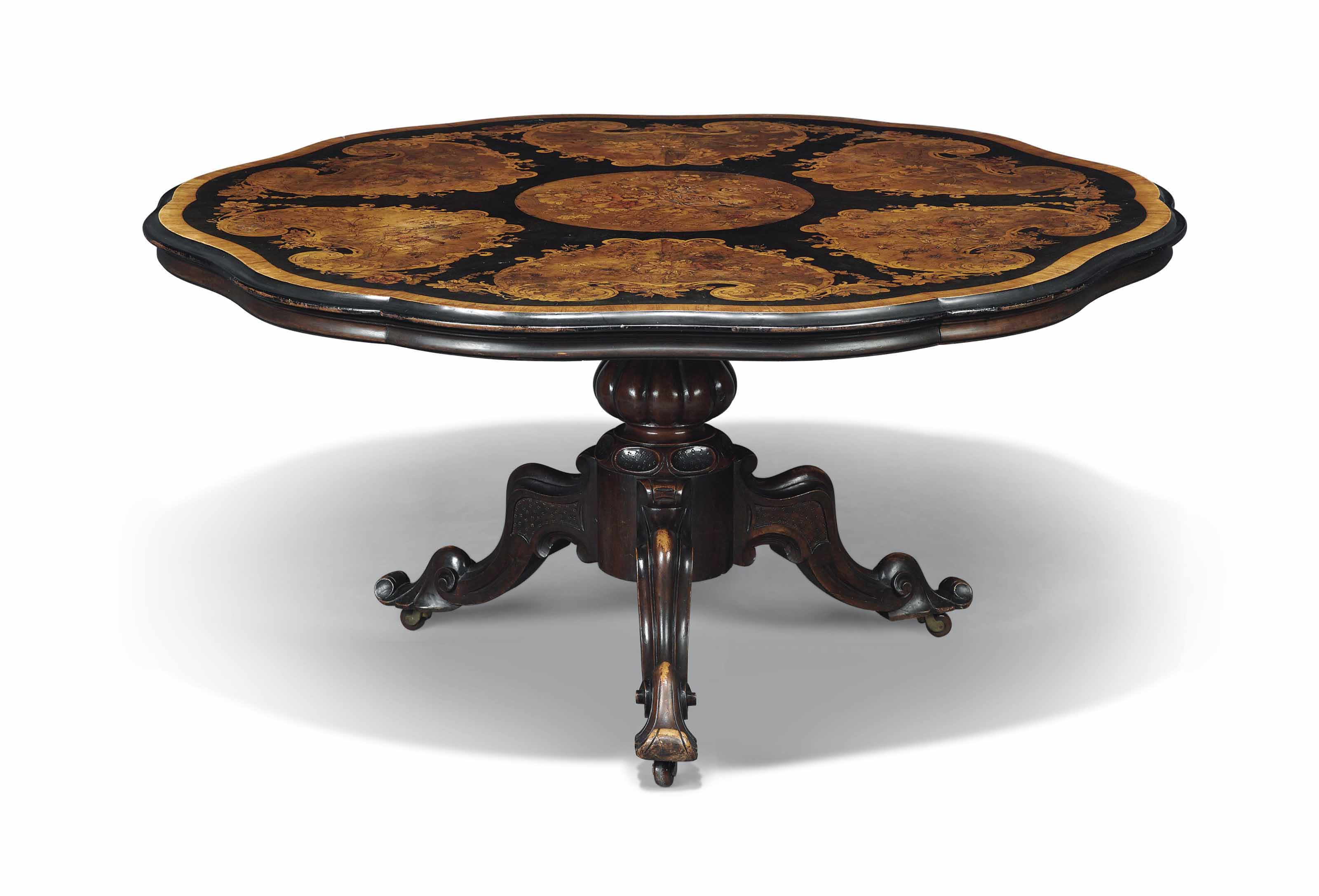 A VICTORIAN WALNUT, STAINED PE